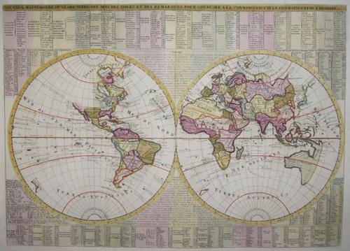 Chatelain  Novaux mappe monde ou globe terrestre avec des tables et des remarques pour conduire a la connoissance de la Geographie et l´histiore