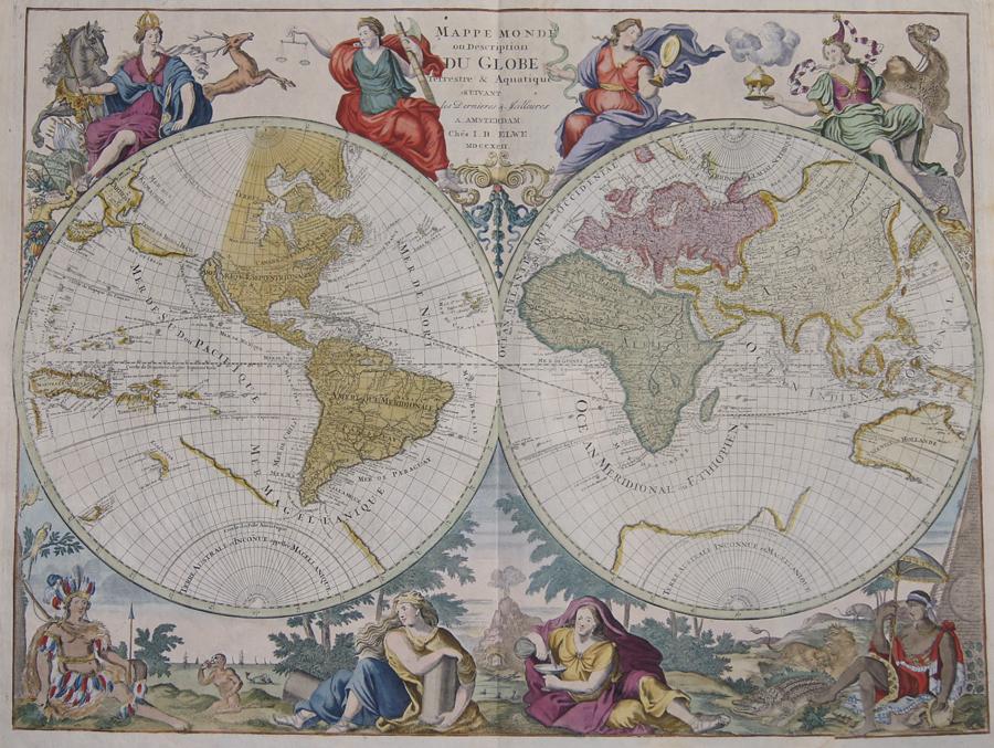 Elwe  Mappe Monde ou Description du Globe Terrestre & Aquatique