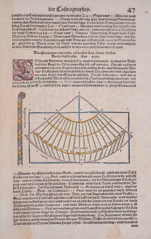 Münster Sebastian Was Ptolomeus im letstem Cap. Seines Ersten Buchs beschreibt