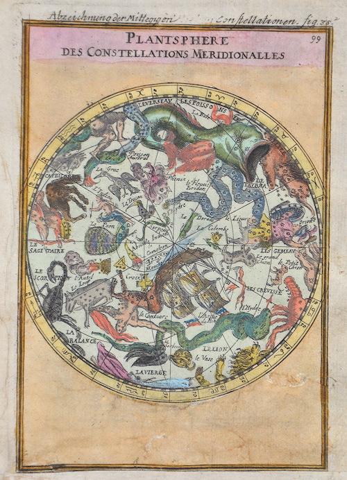 Mallet Alain Manesson Planisphere des Constellations Septenirionalles/ Abzeichnung der Mitternegtig Constelationen
