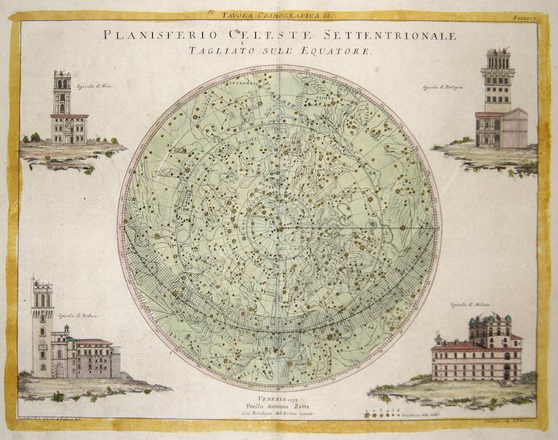 Zatta Antonio Planisferio Celeste Settentrionale Tagliato sull' Equatore.