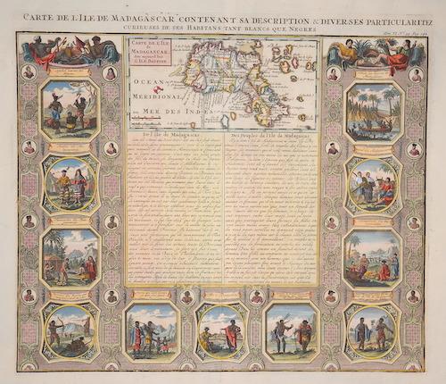 Chatelain Henri Abraham Carte de l´Isle de Madagaskar contenant sa description et diverses particularitez