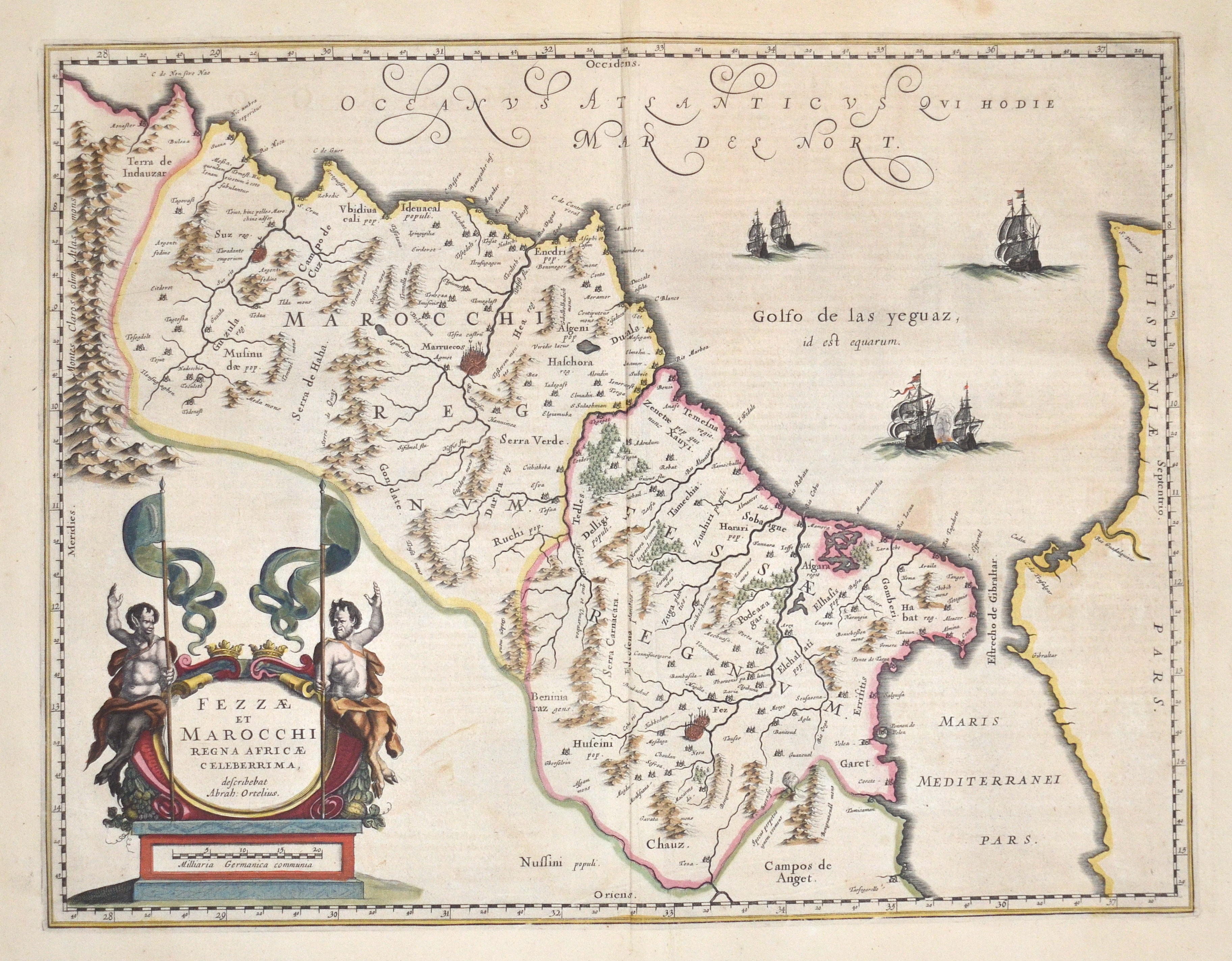 Blaeu  Fezzae et Marocchi Regna Africae celeberrima, describebat Abrah: Ortelius.