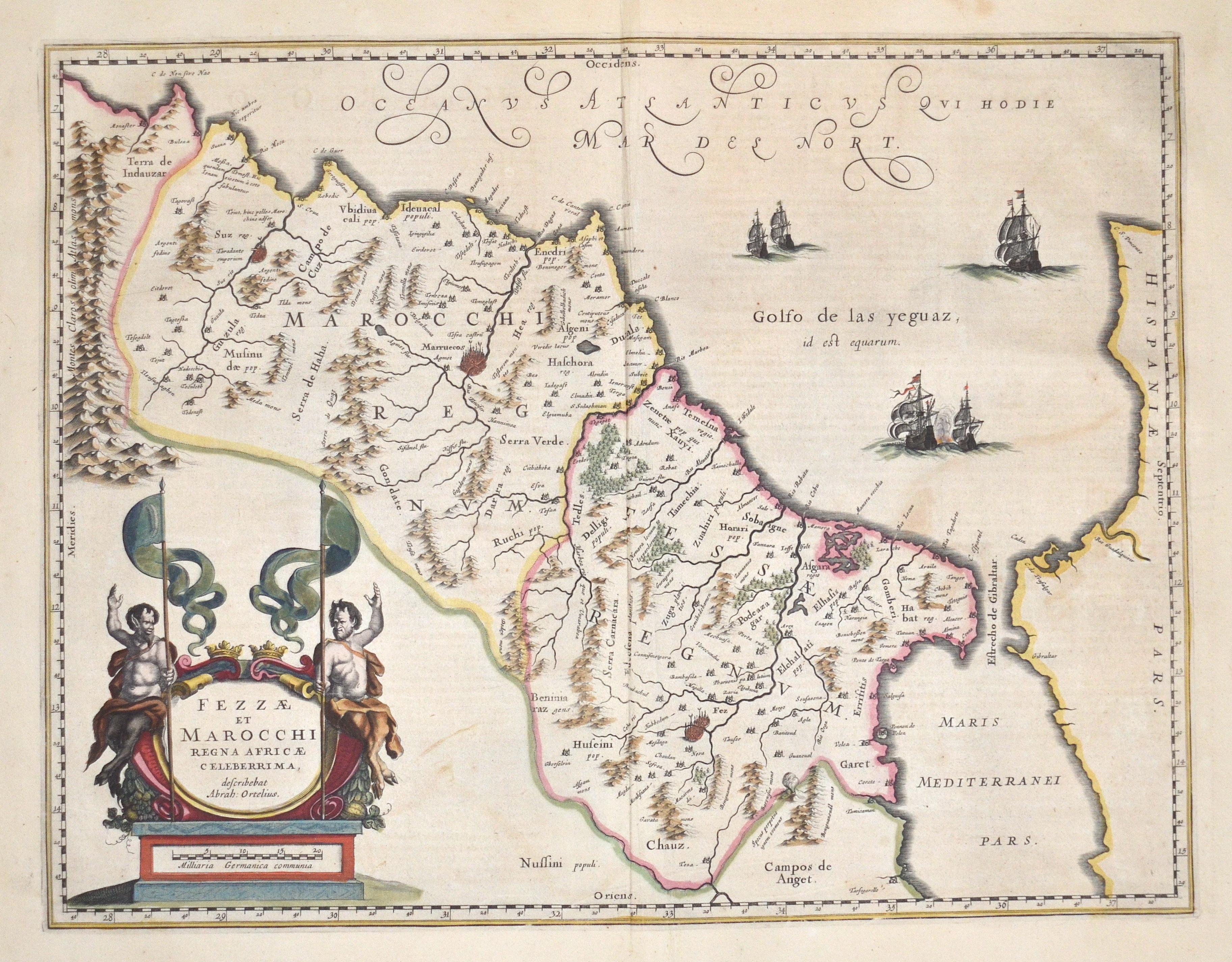 Blaeu Willem Janszoon Fezzae et Marocchi Regna Africae celeberrima, describebat Abrah: Ortelius.