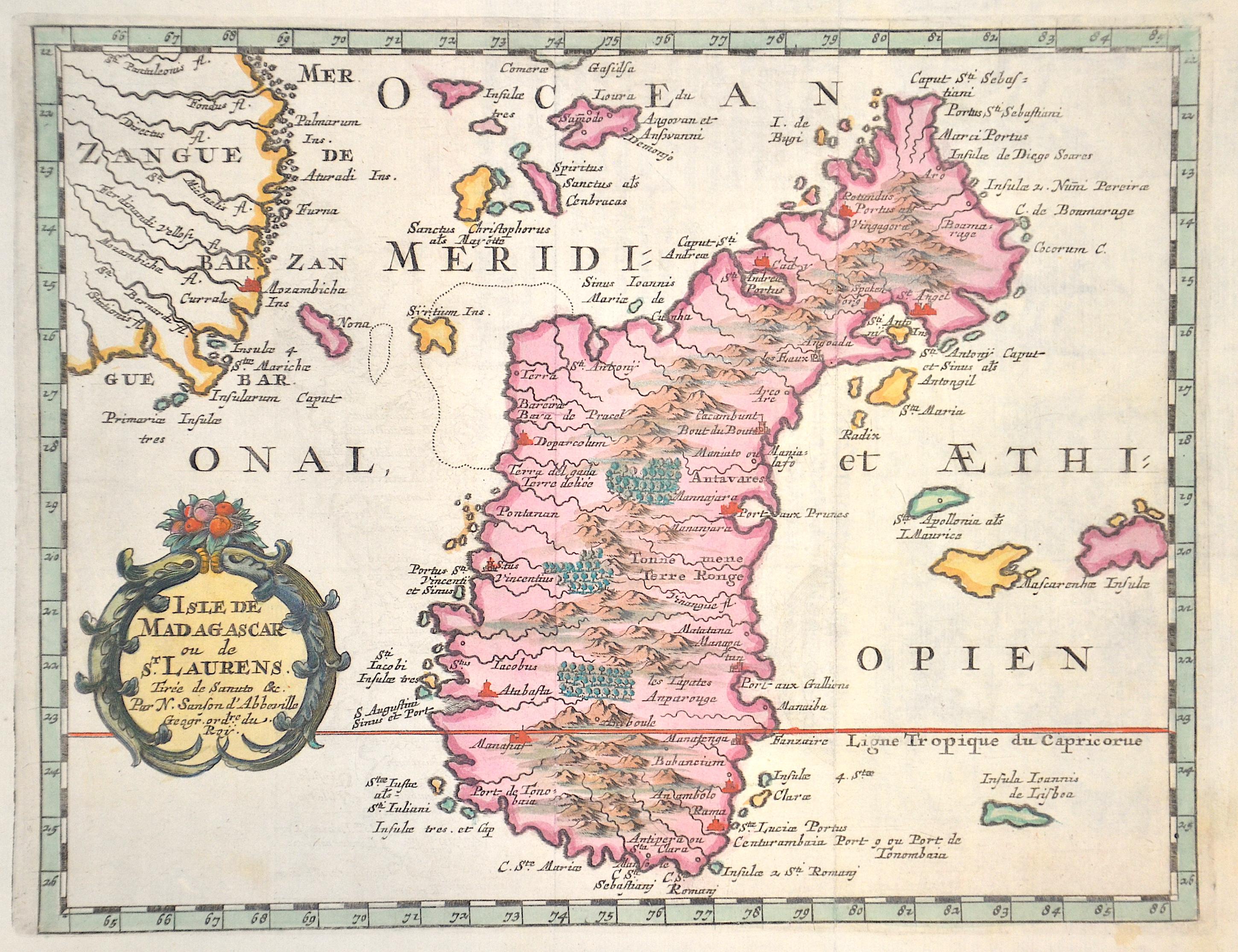 Sanson Nicolas Isle de Madagascar ou de St. Laurens.