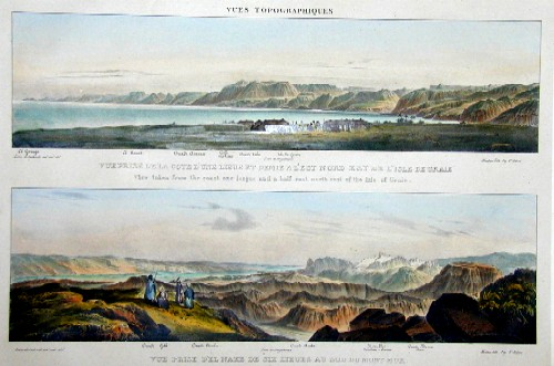 Engelmann Godefroy View taken from the coast one league and a half east north-east of the isle of Graie/View taken from L Nakb six leagues sout of Mount Hor