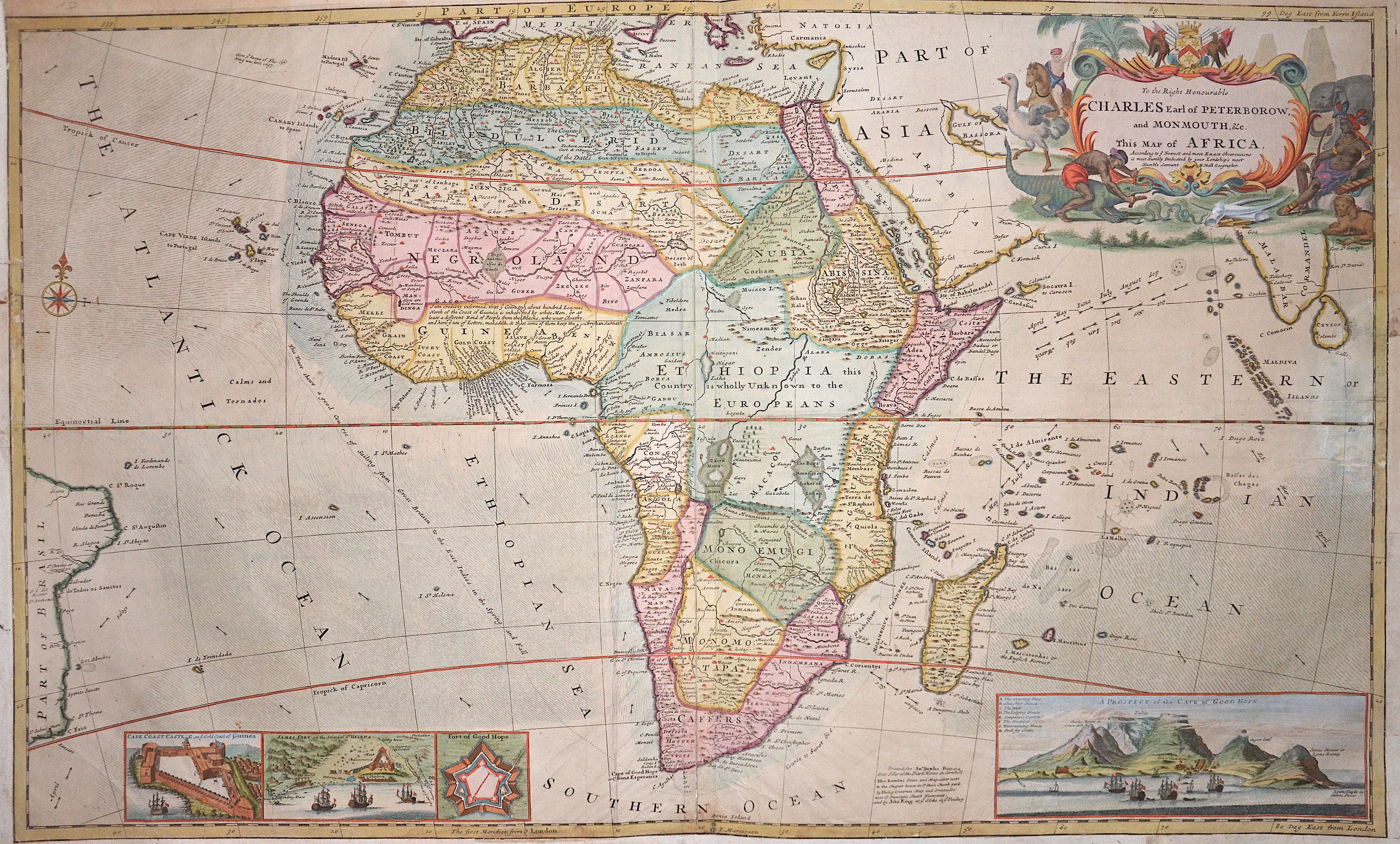 Moll  To the Right Honorable Charles Earl of Perterborow, and Monmouth & this map of Africa