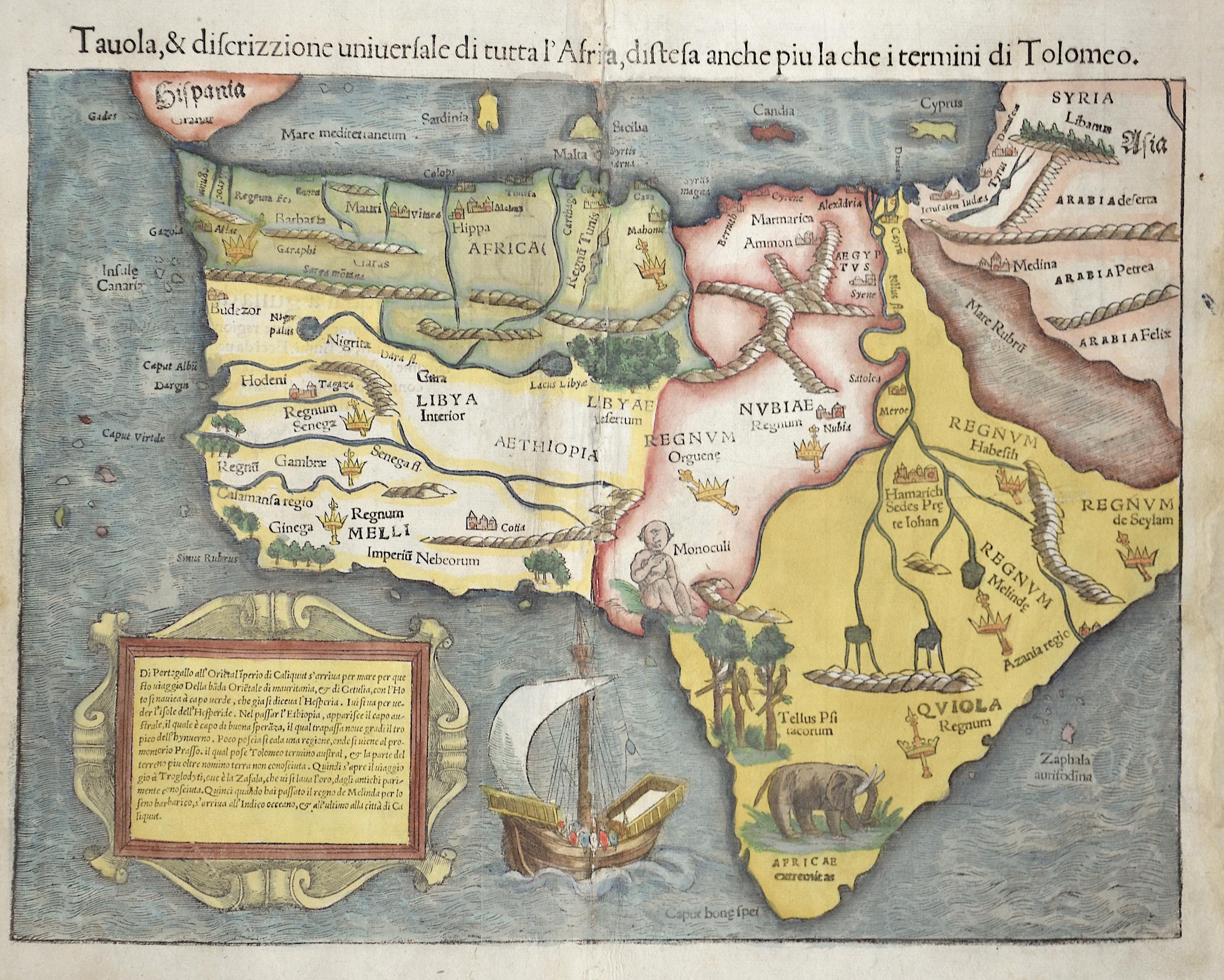 Ptolemy/Münster Sebastian  Tauola, & discrizzione universale du tutta l´Africa, distesa anhce oiu la che i termini di Totlomeo