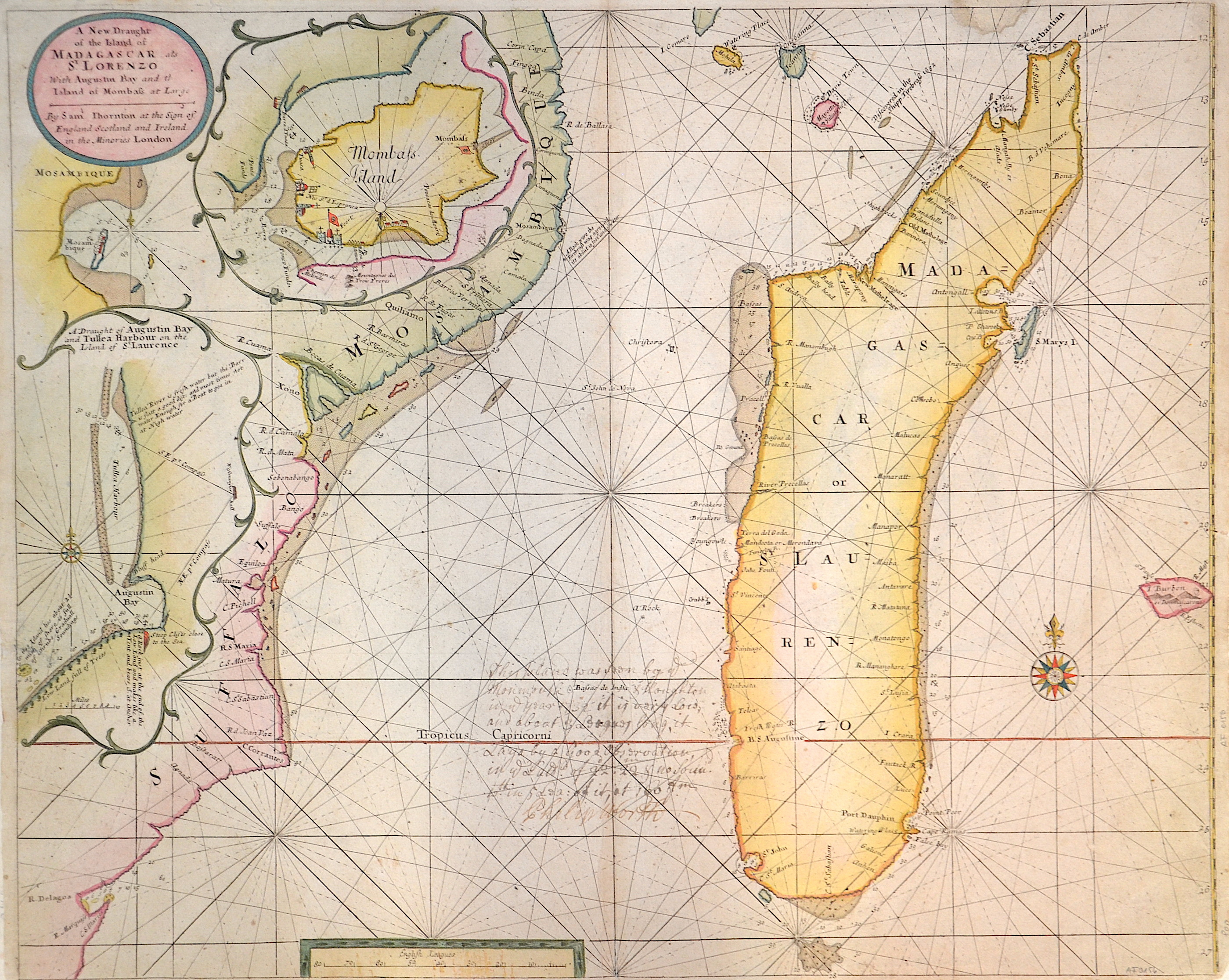 Thornton  A new Draught of the island of Madagascar ats St. Lorenzo with Augustin Bay and the island of Mombaza at large