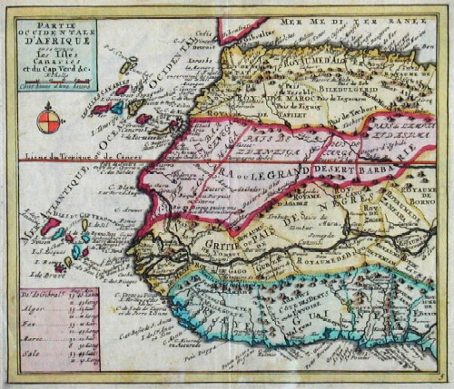 Anonymus  Partie occidentale d´Afrique ou se trouve les isles Canaries et du Cap Verde & c.