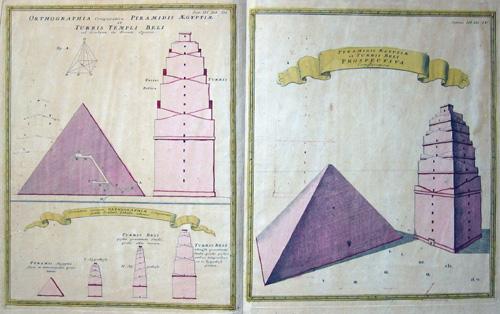Homann  Pyramidis Aegyptiae et Turris Beli Prospectiva Comparativa/Ortographia Comparativa Pyramidis Aegyptiae et Turris Temoli Beli/ Erundem operum ……