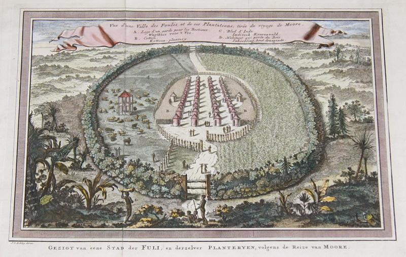 Schley, van der  Vue d´une Ville des Foulis et de ses Plantations, tirée du voyage de Moore