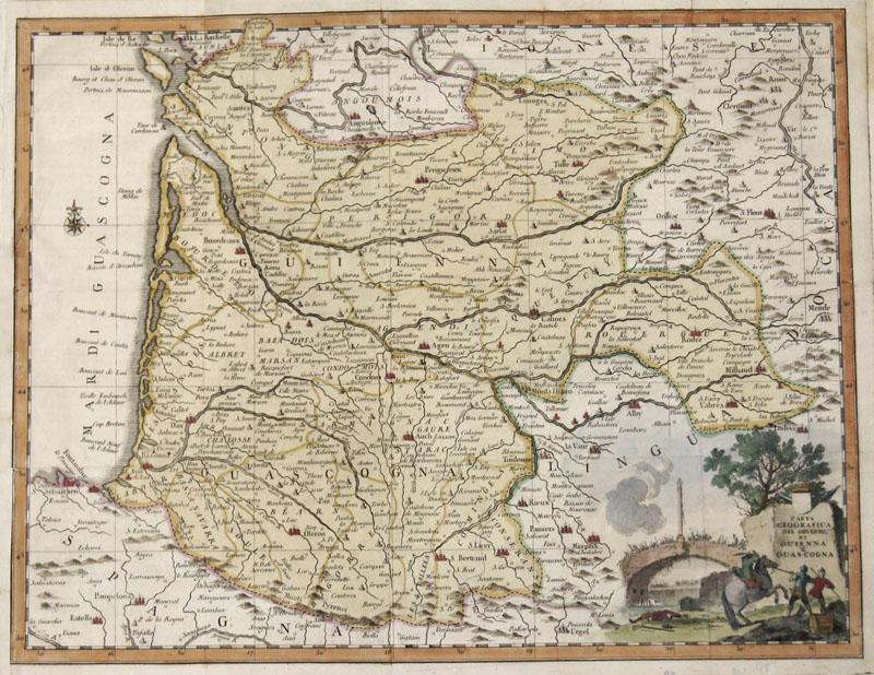 Albizzi Antonio Carta Geographica del Governo di Guienna e Guascogna