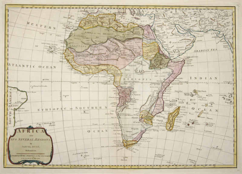 Laurie & Whittle  Africa and it's Several Regions, By Samuel Dunn, Mathematician.