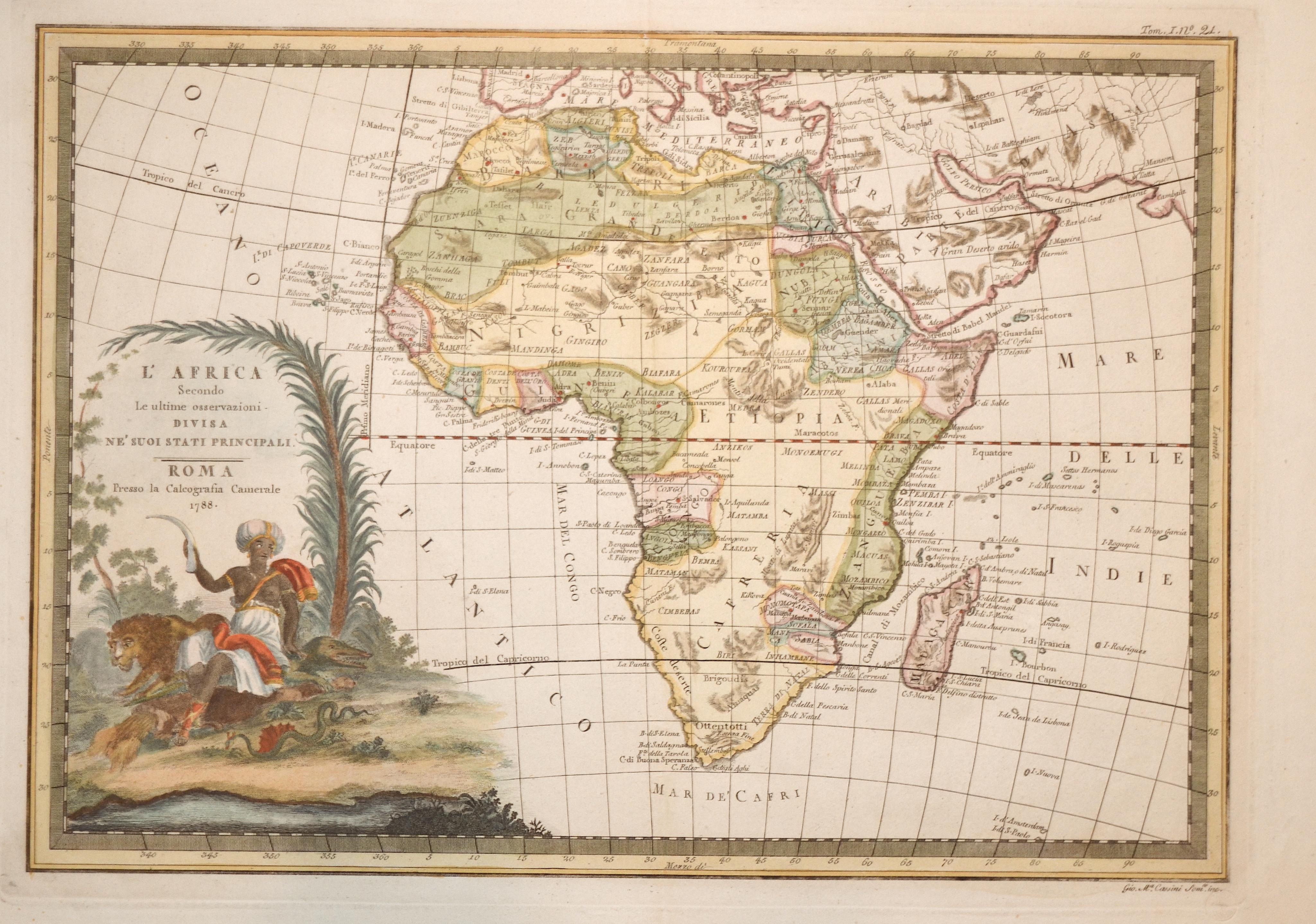 Cassini Giovanni Maria L' Africa Secondo Le ultime osservazioni Divisa ne'suoi stati Principali.