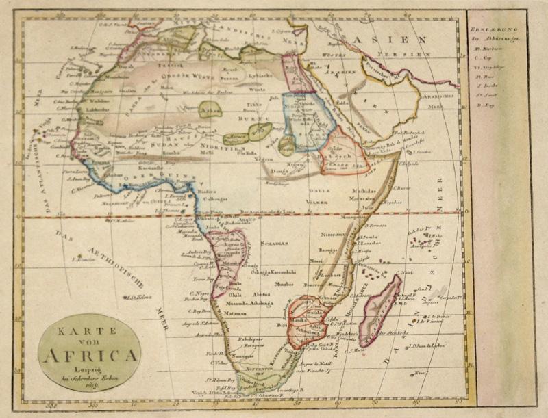 Schreiber Johann Georg Karte von Africa, Leipzig bei Schreibers Erben 1819