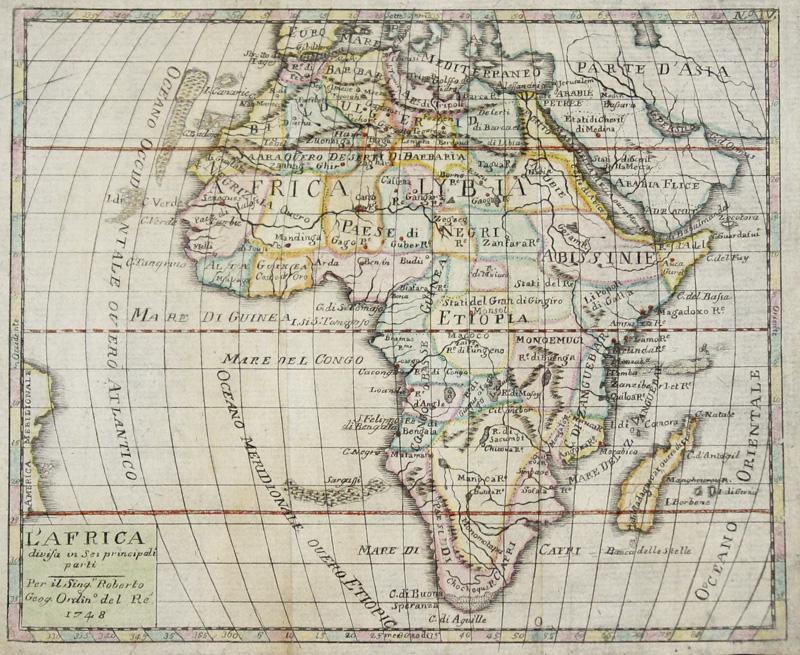 Vaugondy, de  L'Africa divis in Sei principali parti