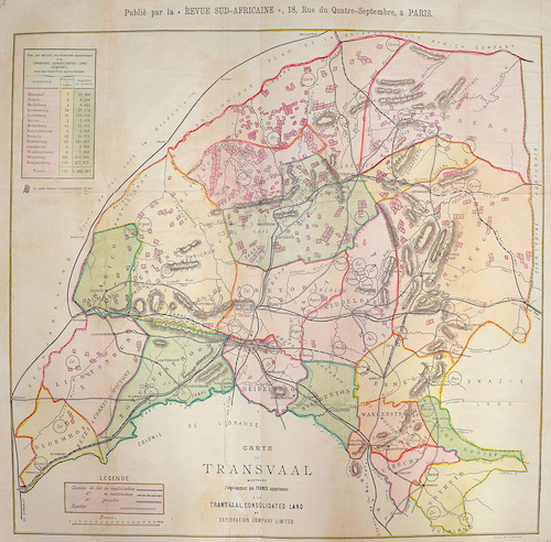 Chabaire  Carte du Transvaal Montrant  l'enplacement des Fermes appartenant a la Transvaal Consolidated Land et exploration Company Limitet.
