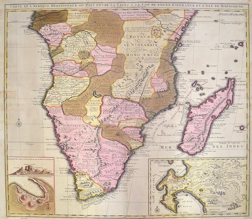 Visscher  Carte de l'Afrique Meridionale ou pays entre la Ligne & Cap de Bonne Esperance, et l'Isle de Madagascar.