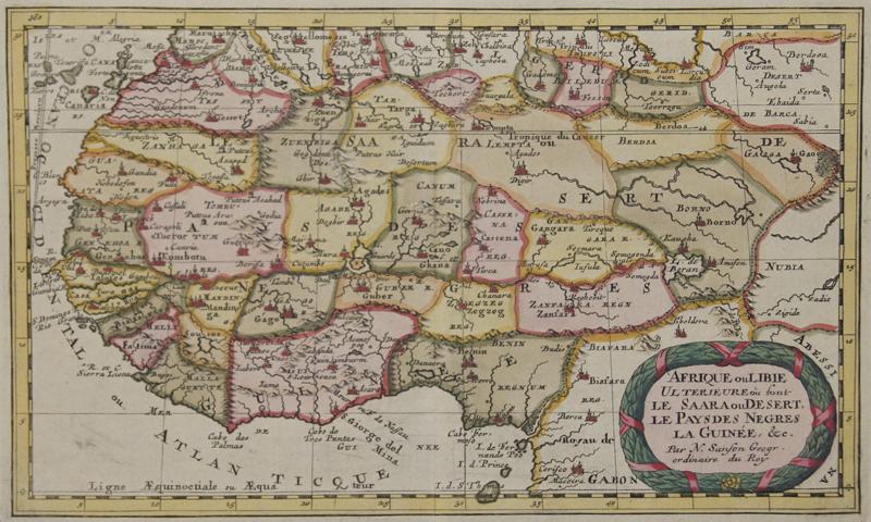 Sanson  Afrique ou Libie Ulterieure ou sont le Saara ou Desert, le Pays des Negres la Guinee,