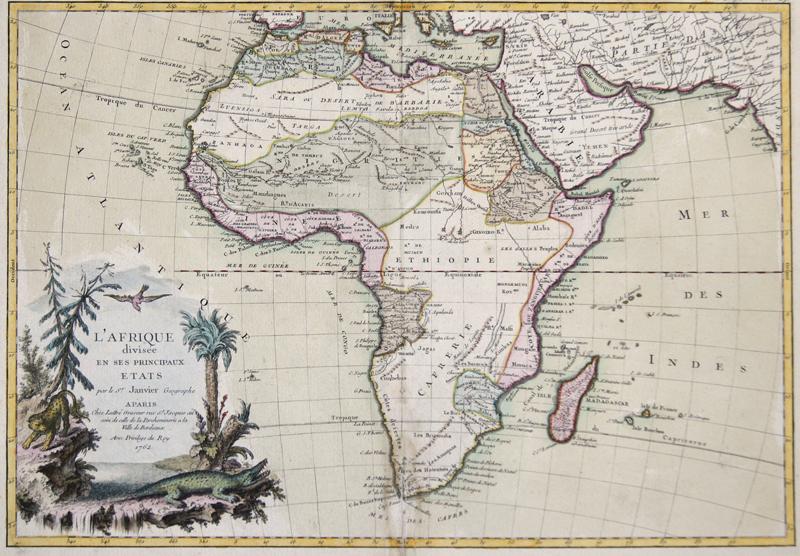 Janvier Sieur  L' Afrique divisee en ses Principaux etats par le Sr. Janvier