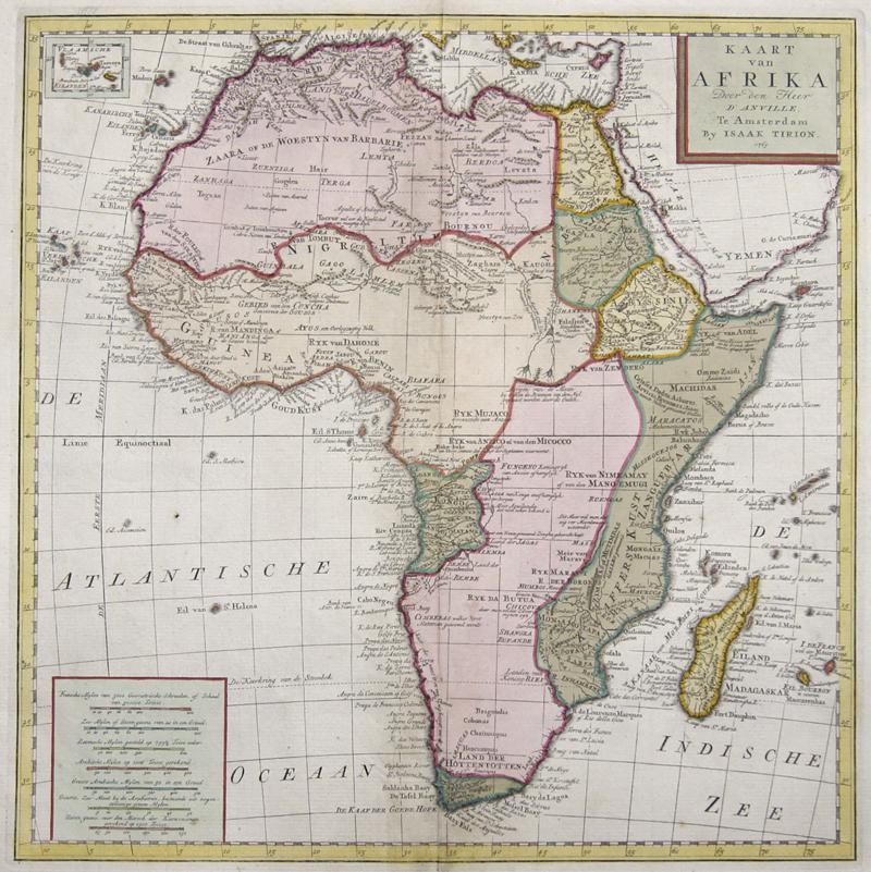 Tirion Isaak Kaart van Afrika Door den Heer d'Anville.