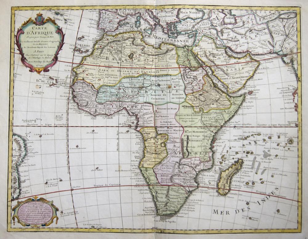 L´Isle, de /Covens & Mortier Guillaume Carte d' Afrique Dressee pour l'usage du Roy