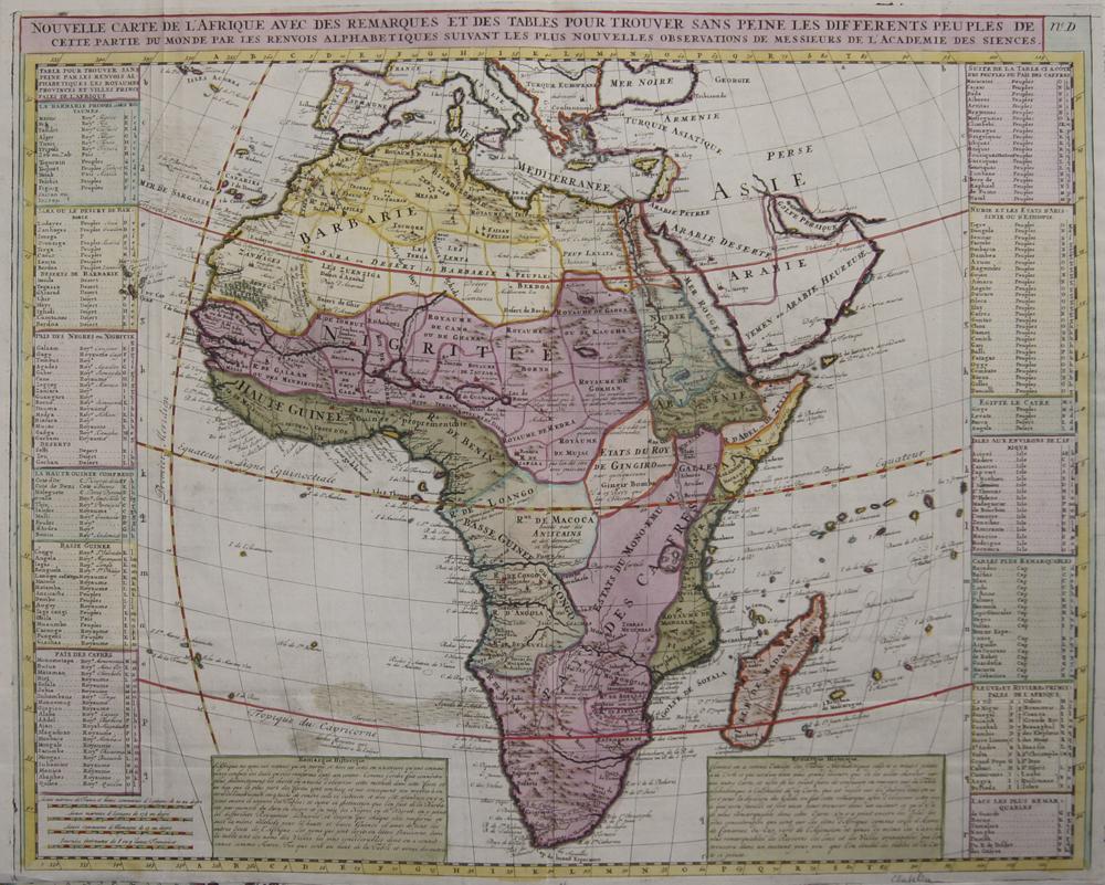 Chatelain Henri Abraham Nouvelle Carte de l'Afrique avec des remarques et des tables pour trouver sans peine les differents peu ples de cette partie du monde par les..