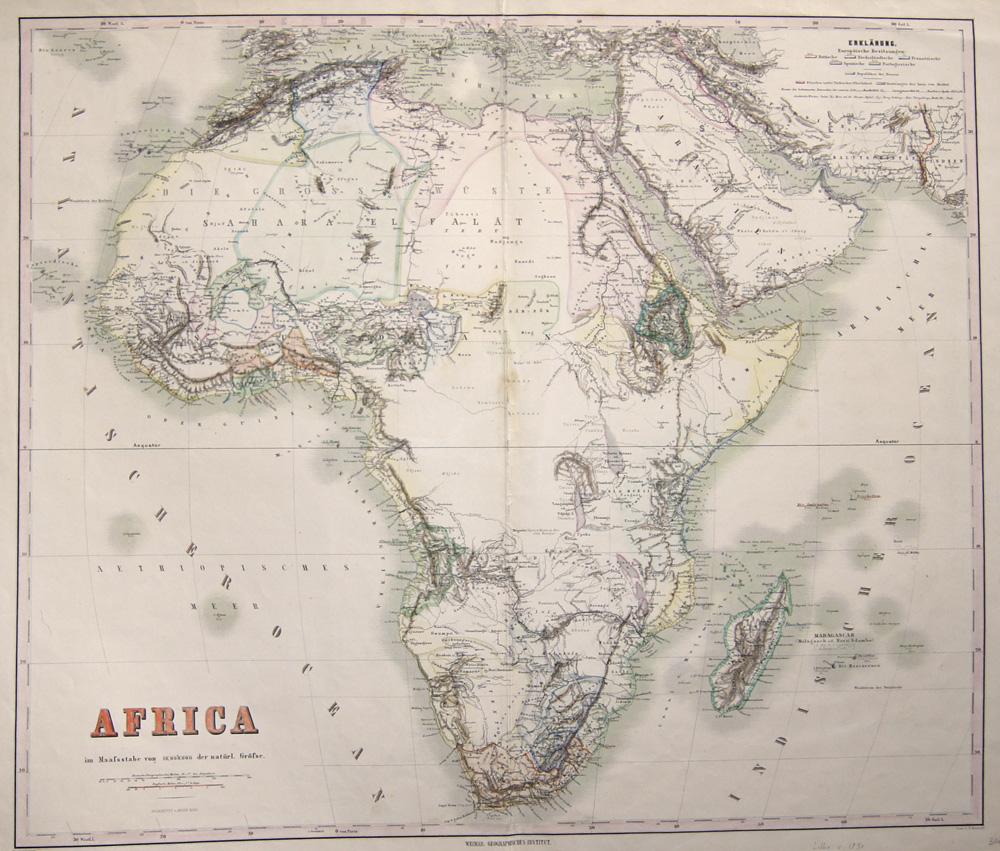 Haubold  Africa im Maassstabe von 1/16.000.000 der natürl. Grösse.