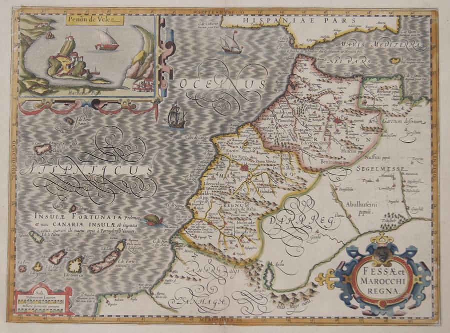 Hondius  Fessae et Marocchi Regna.