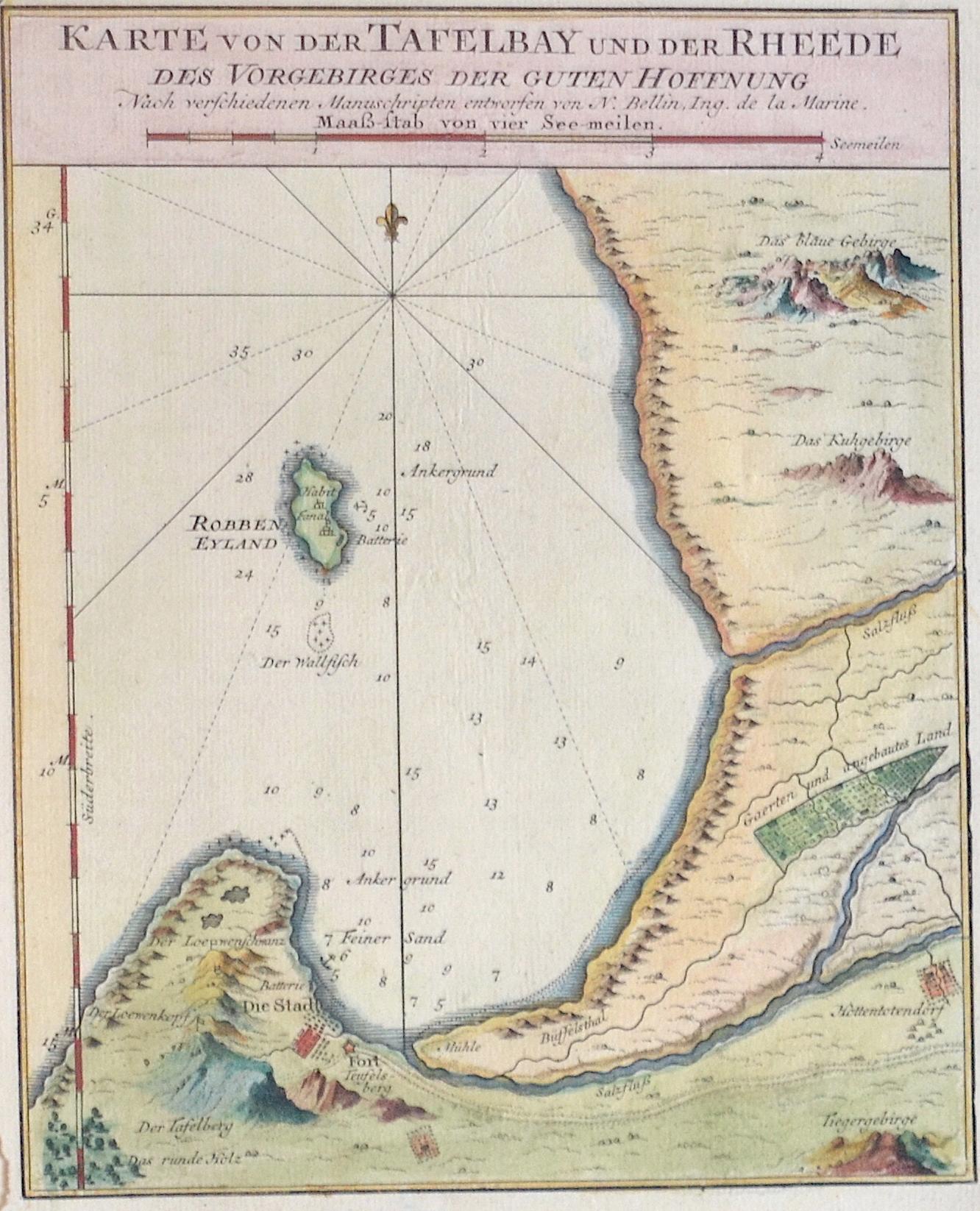 Bellin  Karte von der Tafelbay und der Rheede des Vorgebirges der Guten Hoffnung