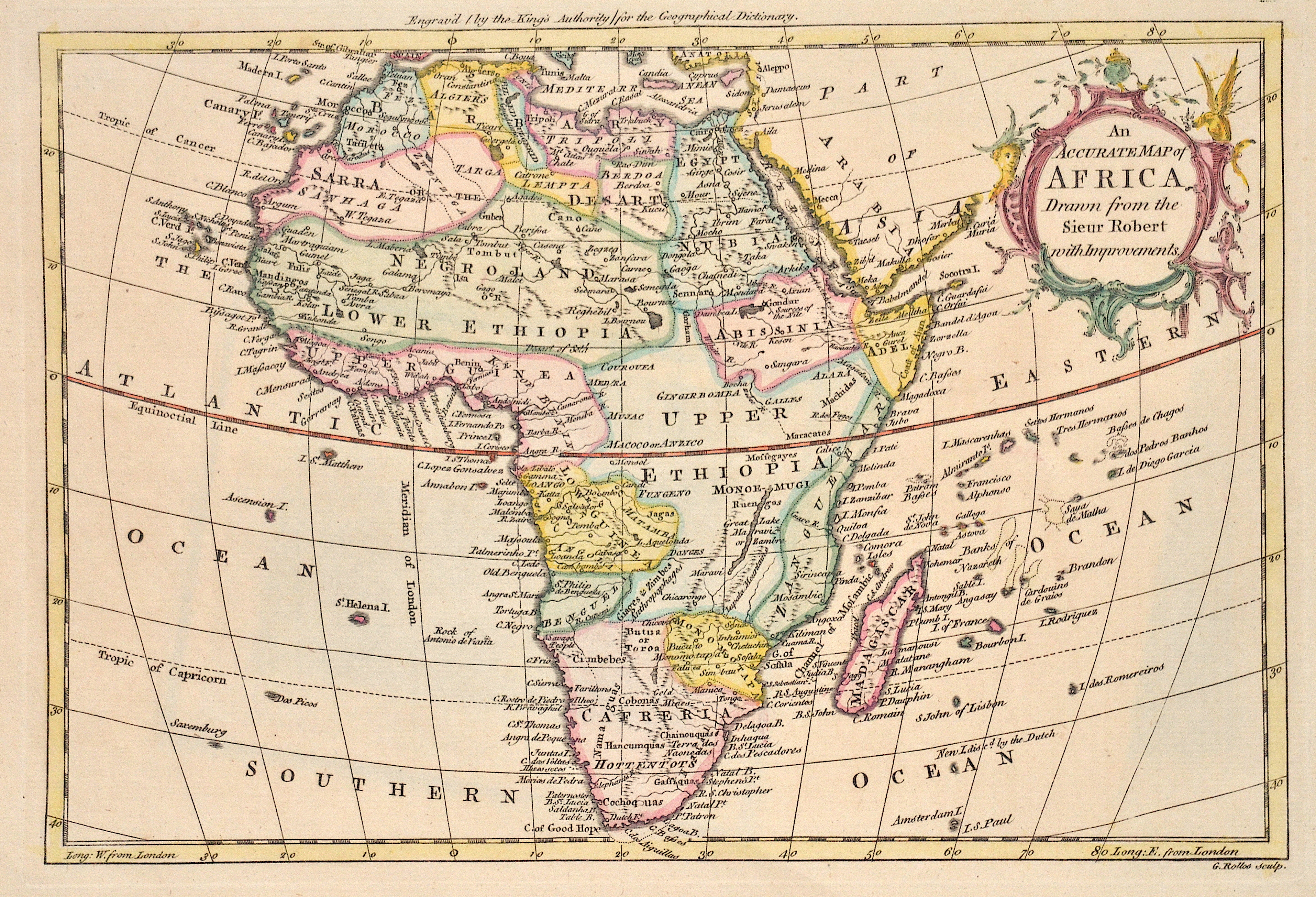 Robert Gilles (Sr.) An Accurate Map of Africa. Drawn from the Sieur Robert with Improvements.