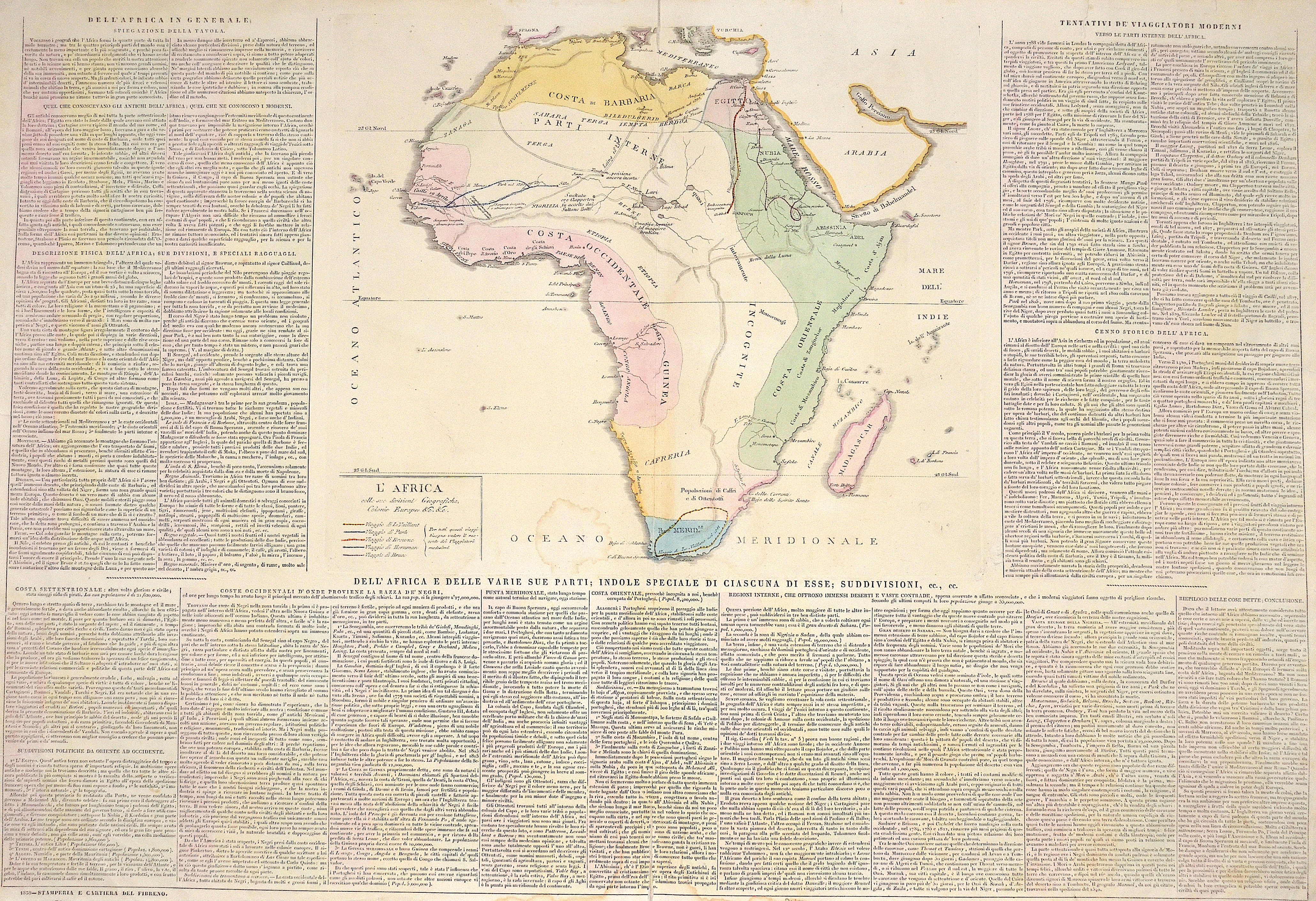 Anonymus  L'Africa colle sue divisioni Geografiche, Colonie Europee