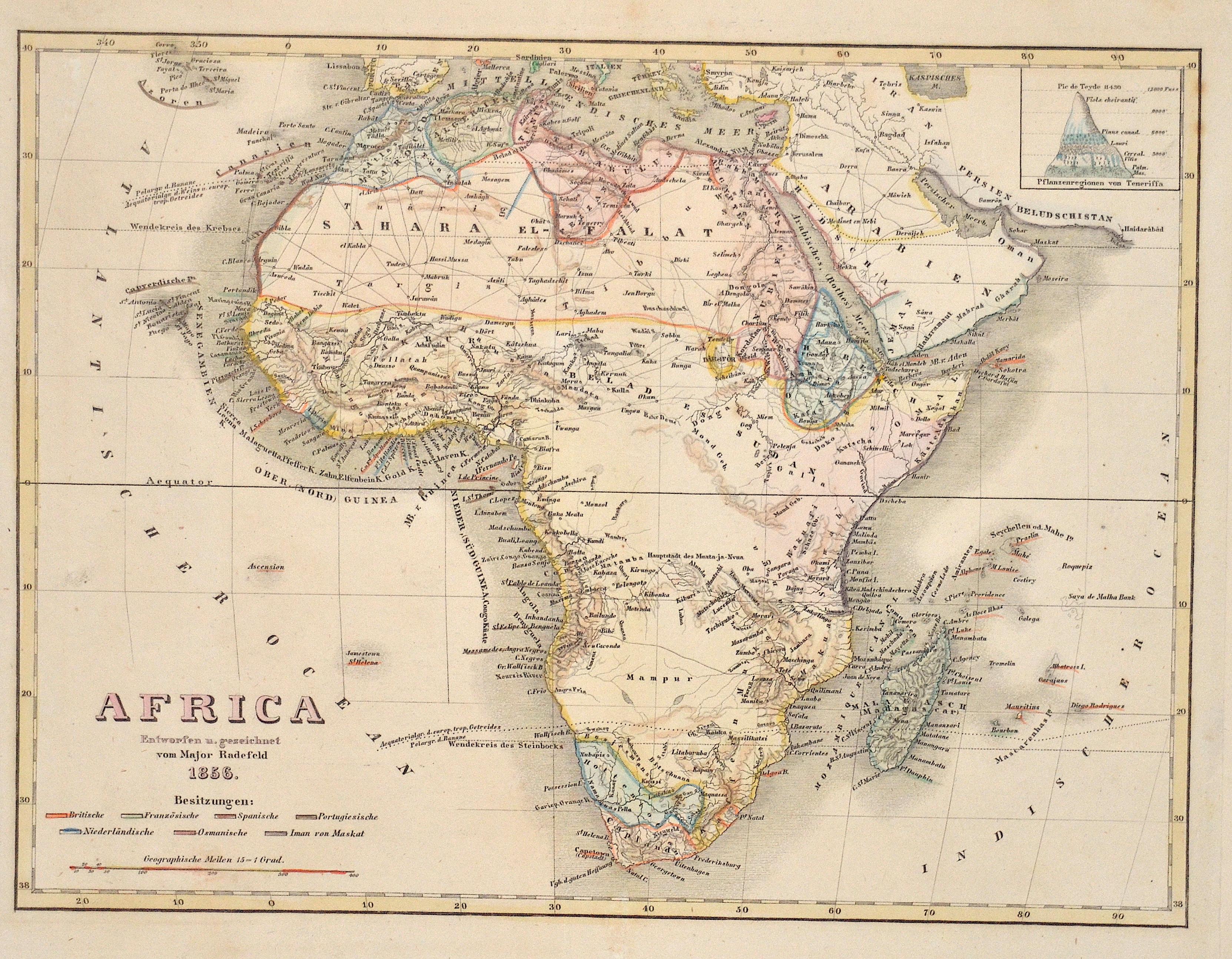 Radefeld  Africa Entworfen u. gezeichnet vom Major Radefeld 1856.
