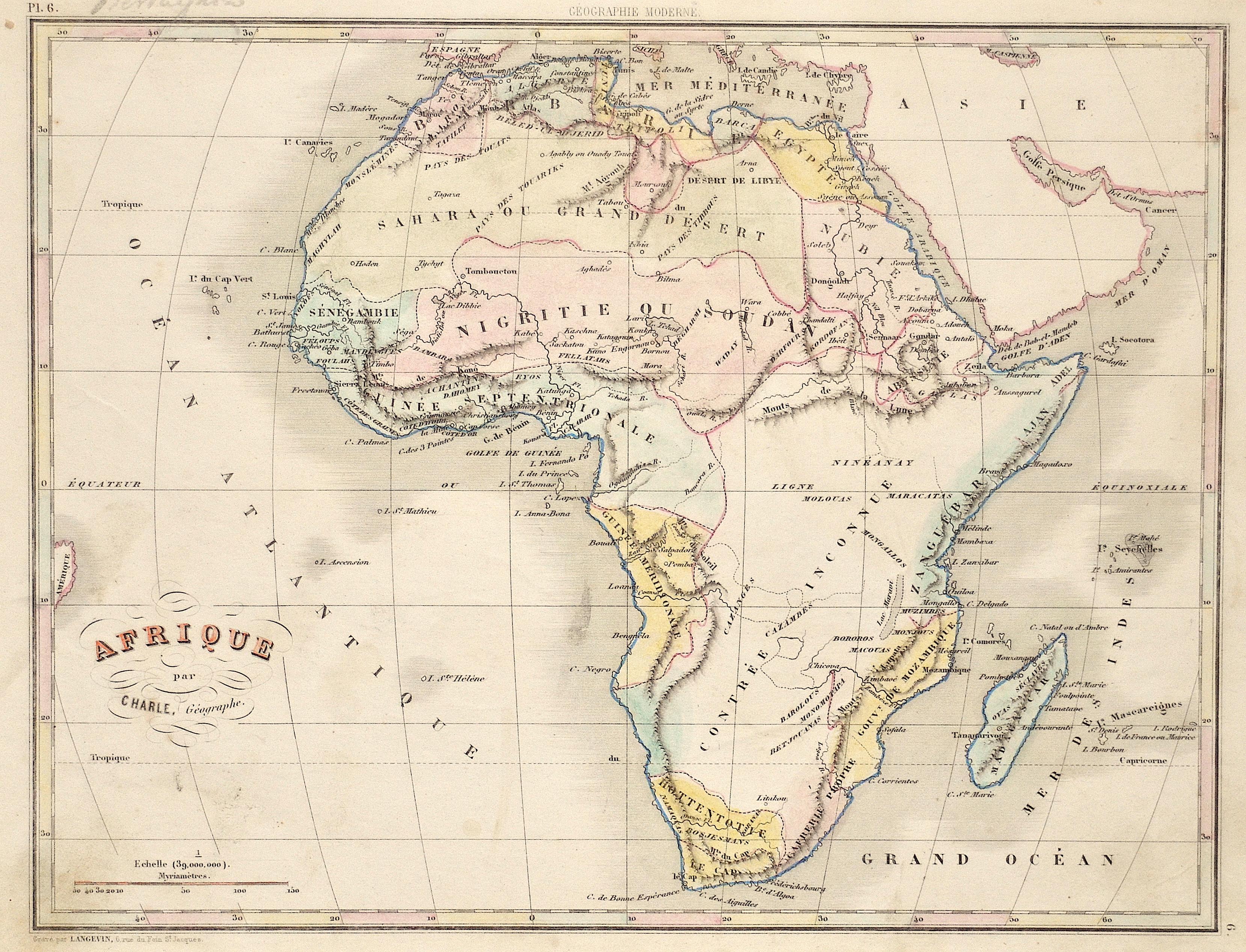 Langevin  Afrique par Charle, Gégraphe.