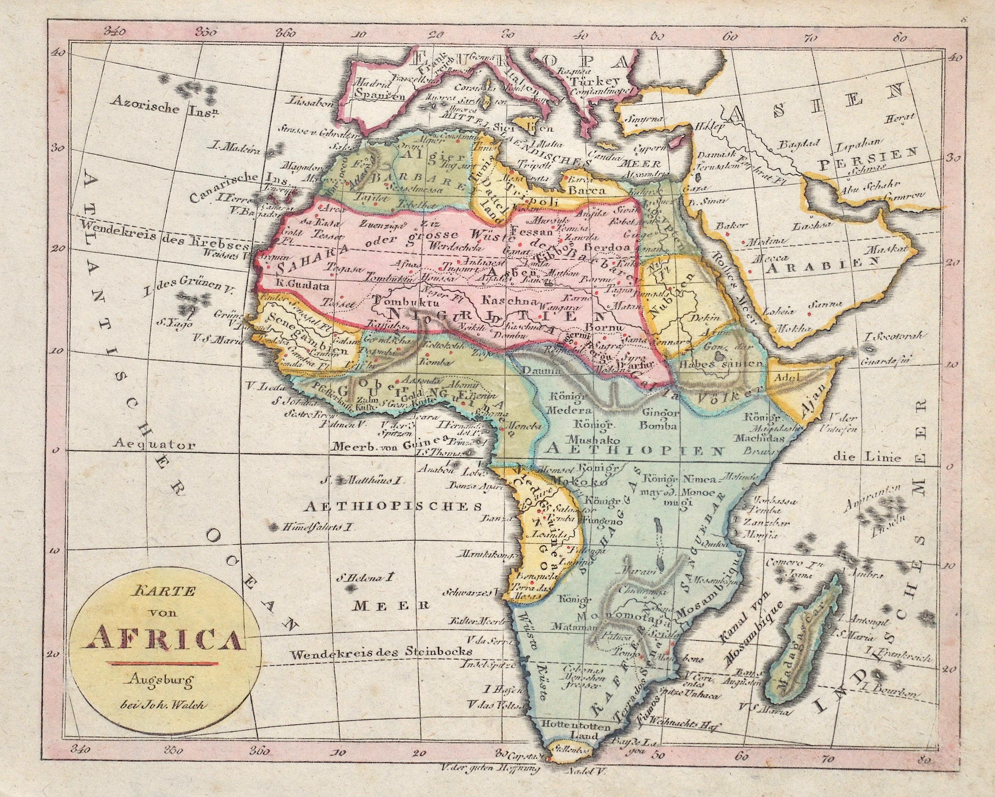 Walch Johann Karte von Africa