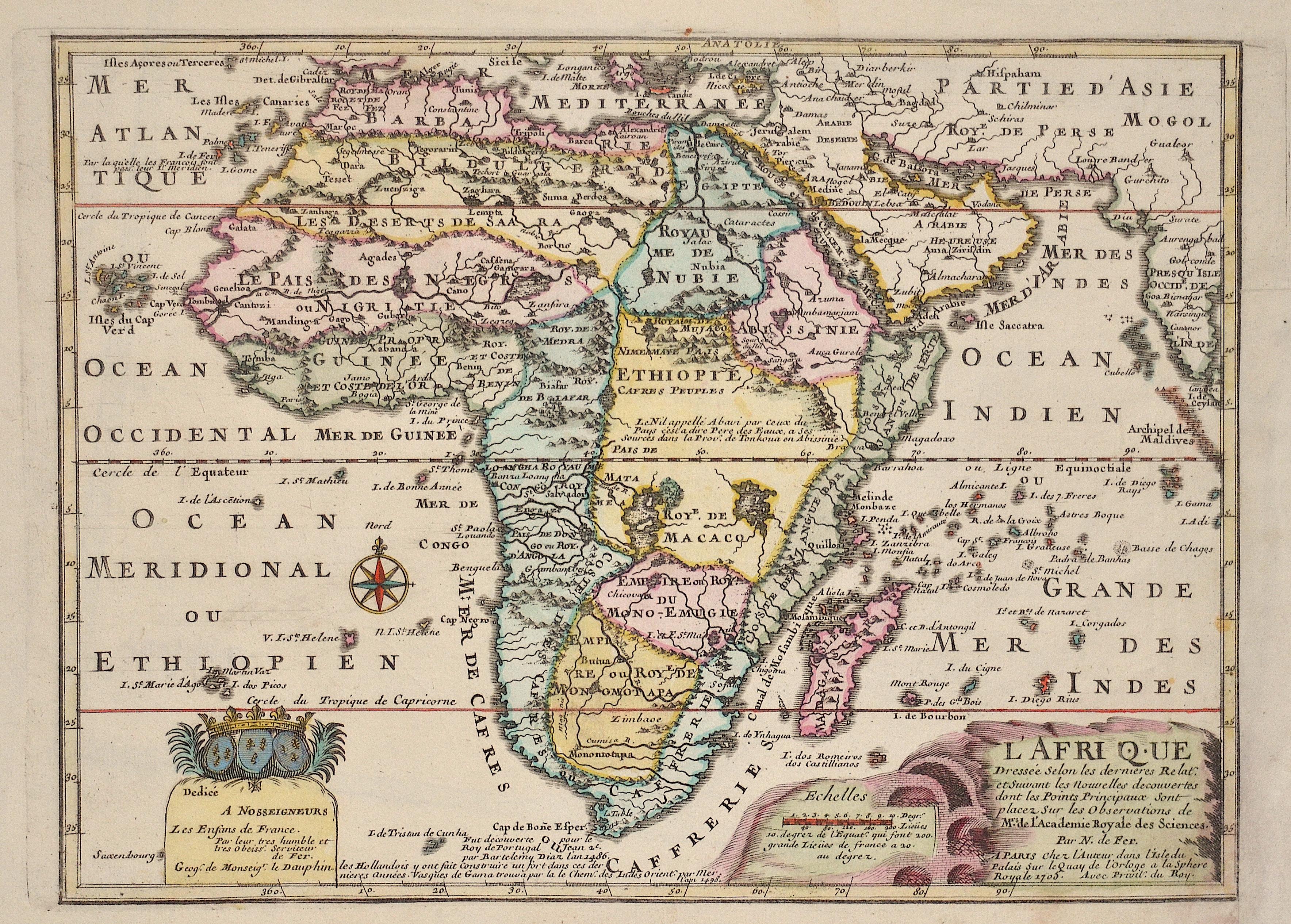 Fer, de Nicolas L'Afrique Dressée Selon les dernieres Relat: