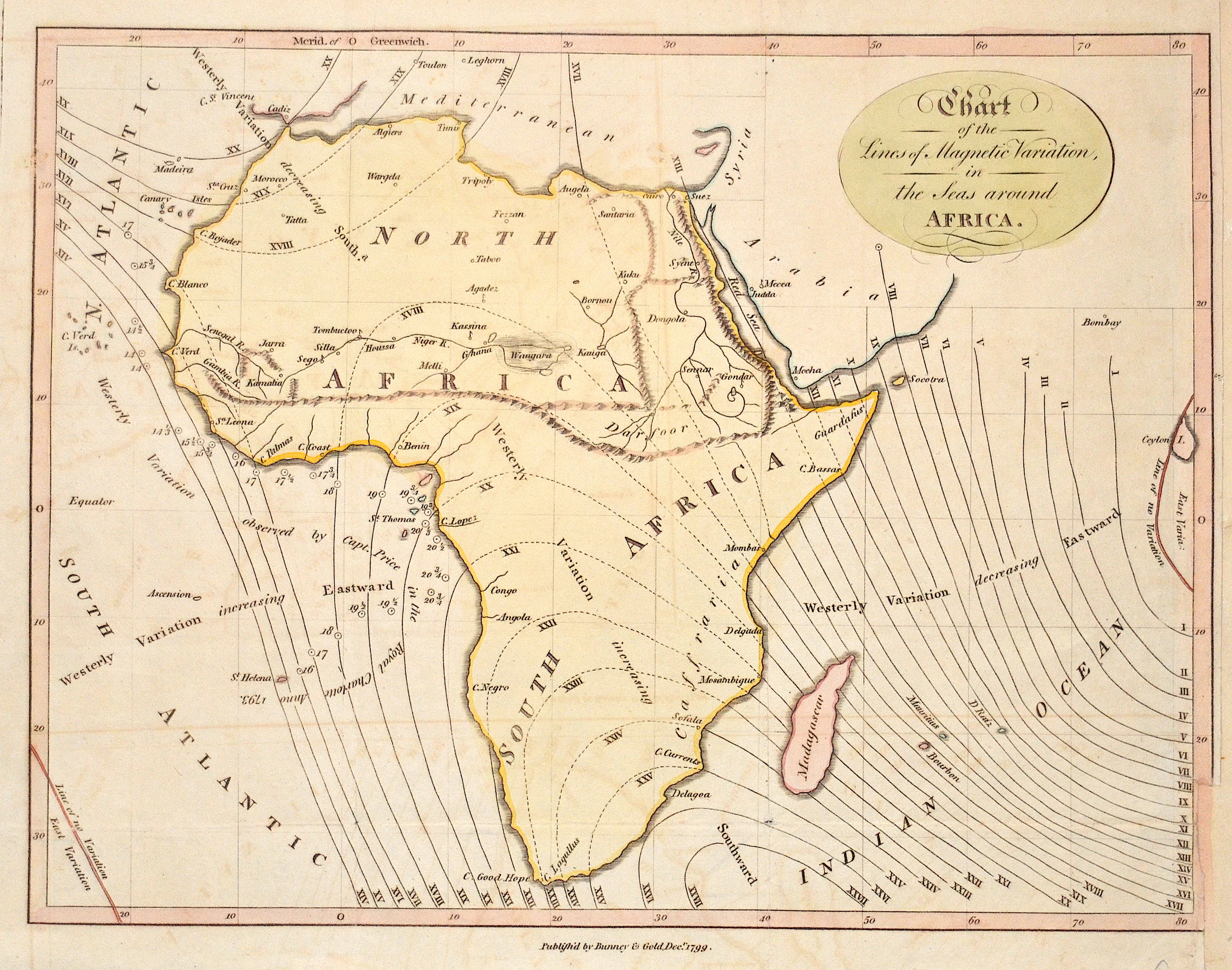 Bunney & Gold  Chart of the Lines of Magnetic Variation, in the Seas around Africa.