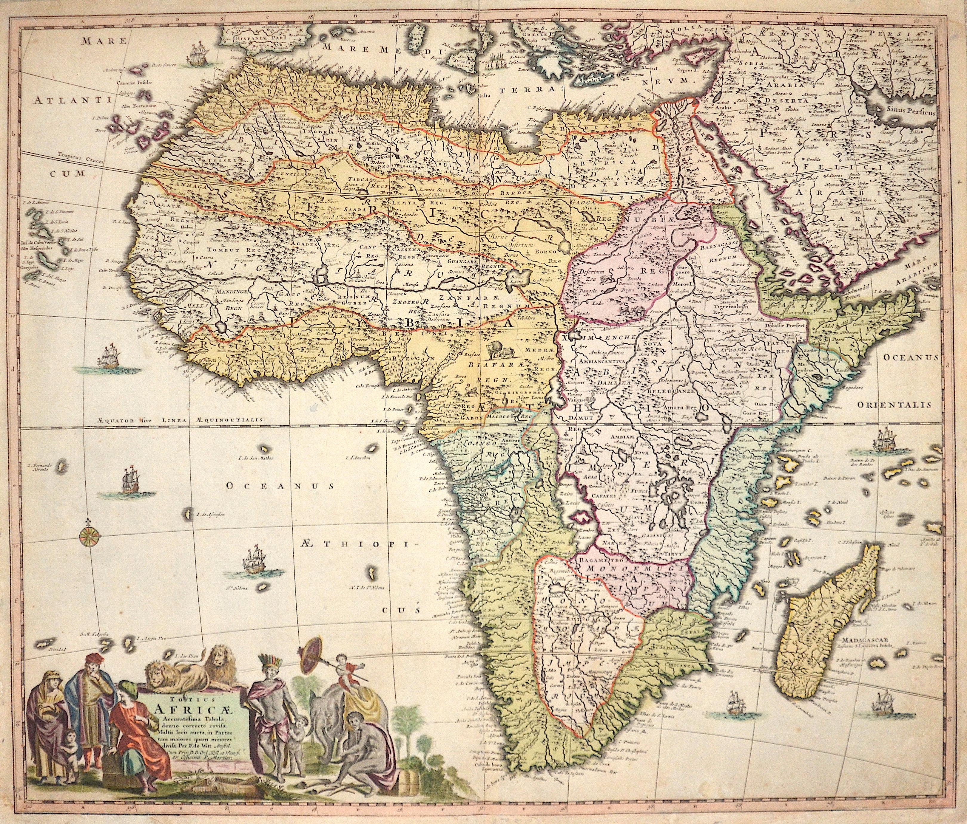 Wit,de/ Mortier,P. Frederick Totius Africae Accuratissima Tabula, denuo correcté revisa.