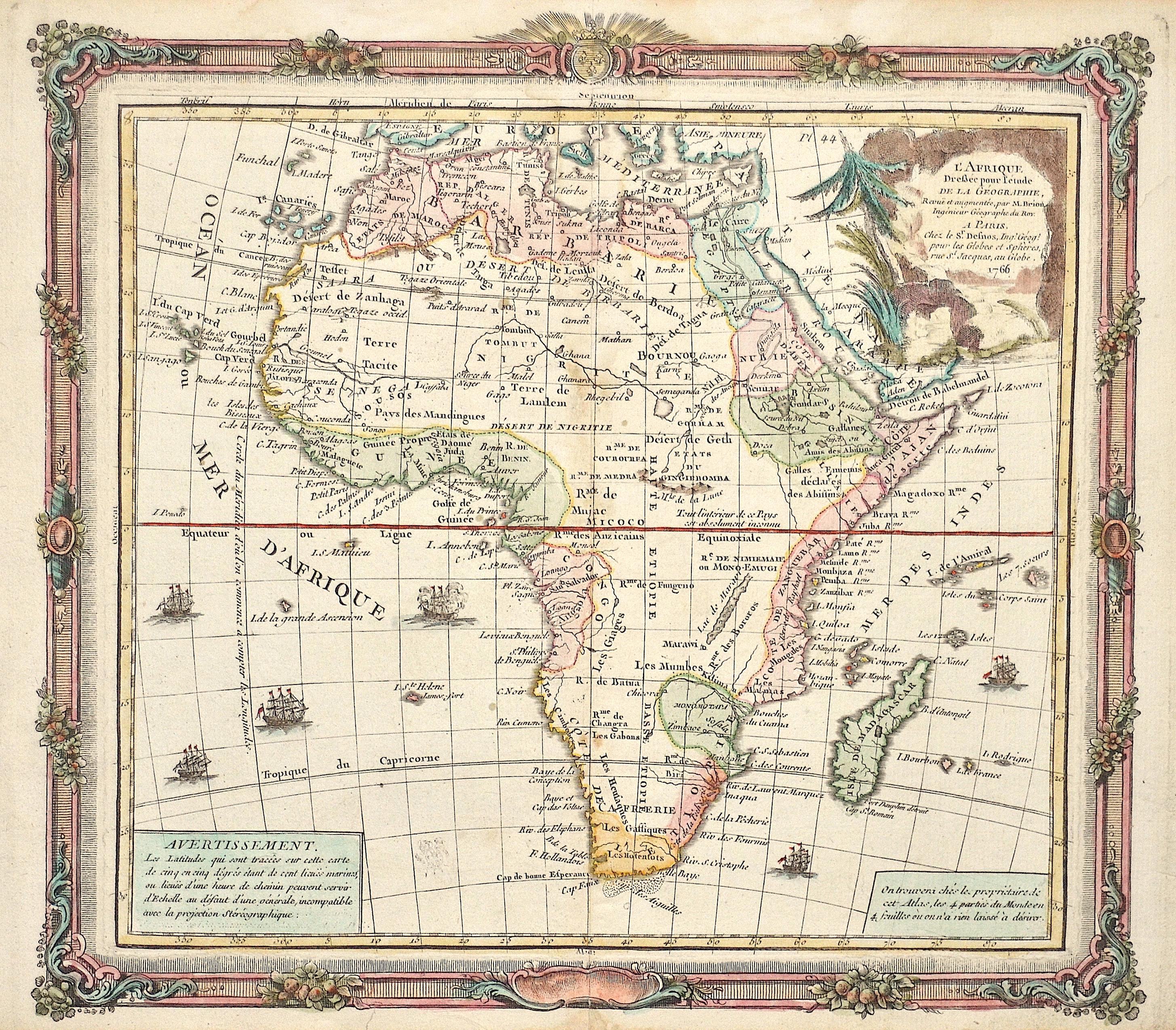 Desnos  L'Afrique Dreßée pour L'etude de la Géographie,