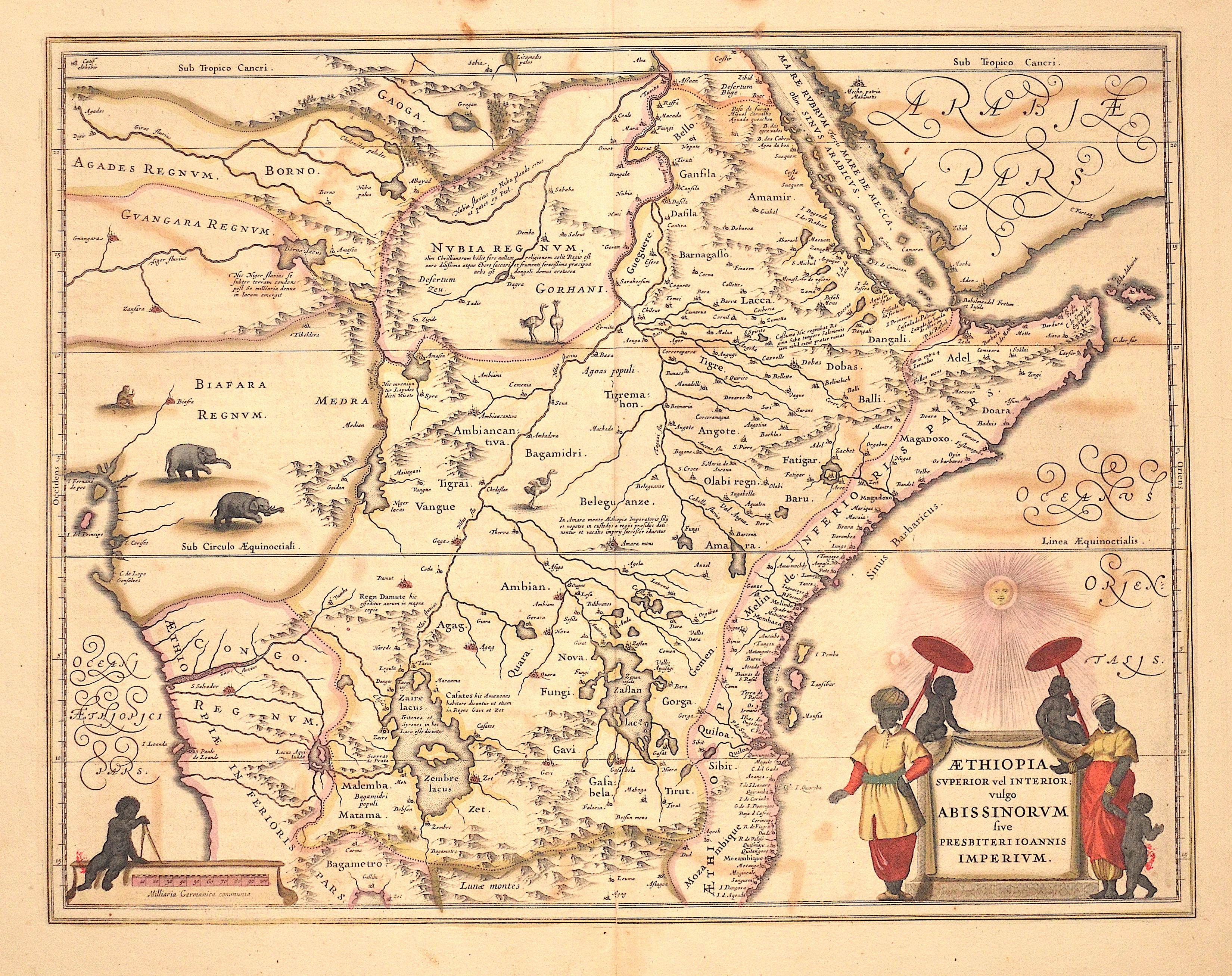 Blaeu Willem Janszoon Aethiopia superior vel Interior; vulgo Abissinorum sive Presbiteri Joannis Imperium.