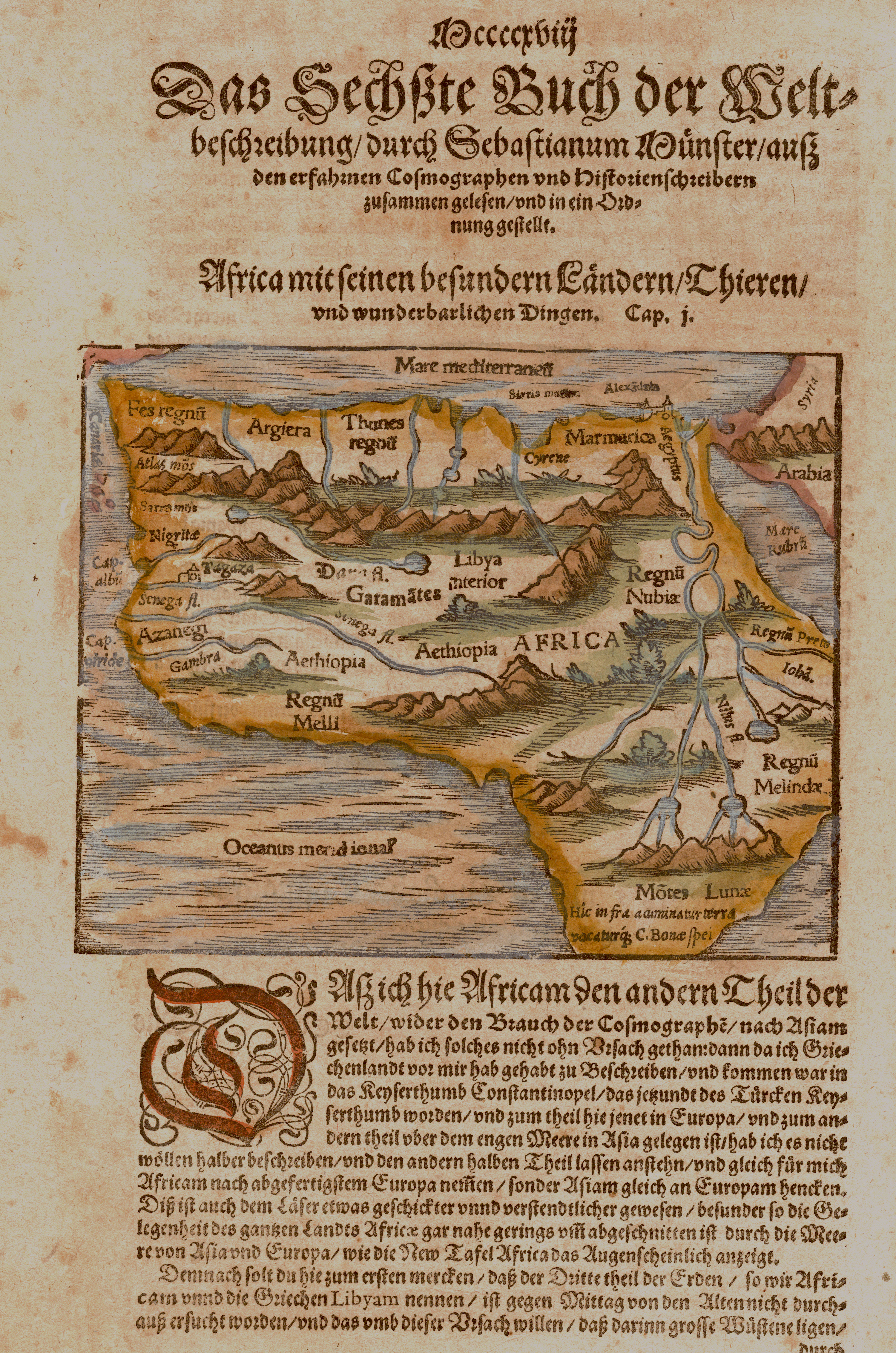 Münster Sebastian Liber Sesto della Cosmographia, raccolto da approbati/ Africa maggiore