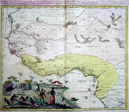 Homann Erben  Guinea propria nec non Nigritiae, vel Terrae Nigrorum maxima pars, geographis odiernis dicta utraq Aethopia inferior