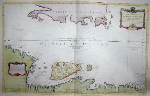 Bellin S. Carte reduite du Detroit de Davids. Faite au Depost des Cartes Plans et Journaux de la marine