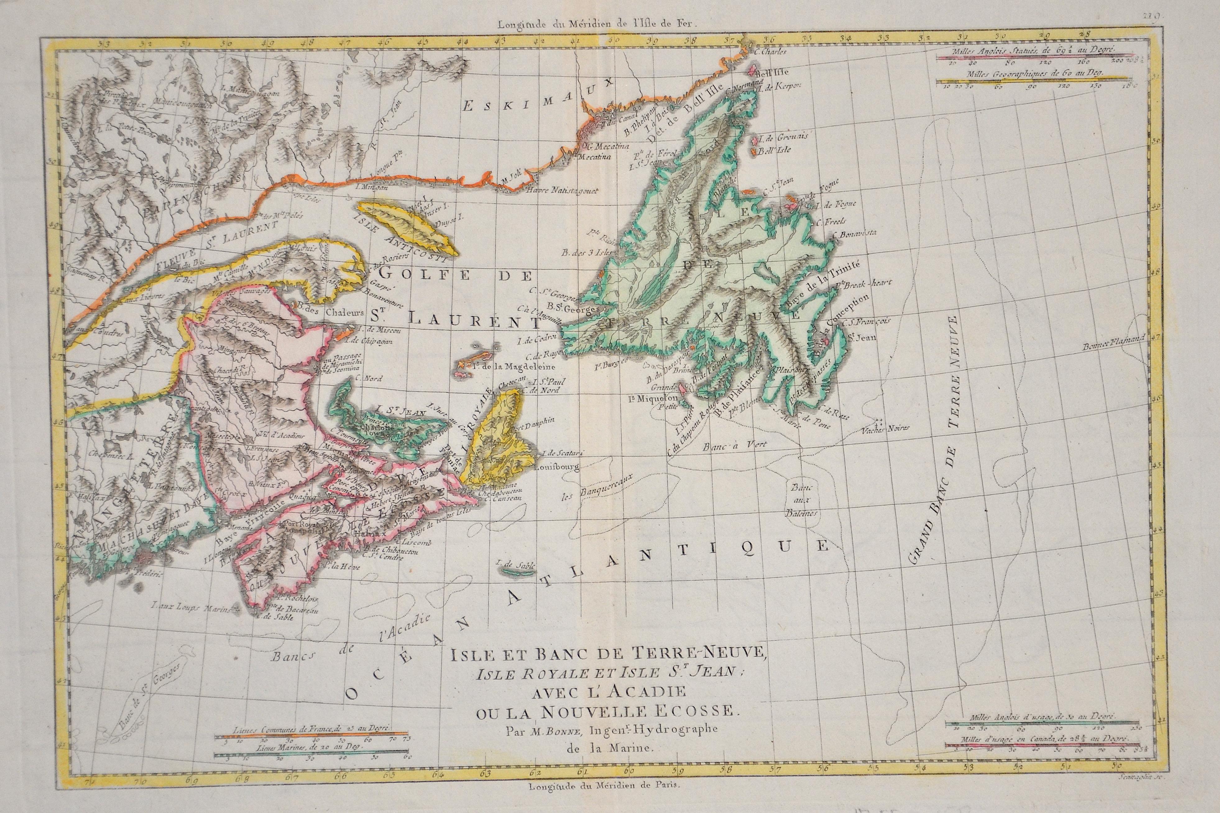 Bonne  Isle et Banc de Terre- Neuve isle Royale et isle St. Jean avec l´Acadie ou la nouvelle Ecosse