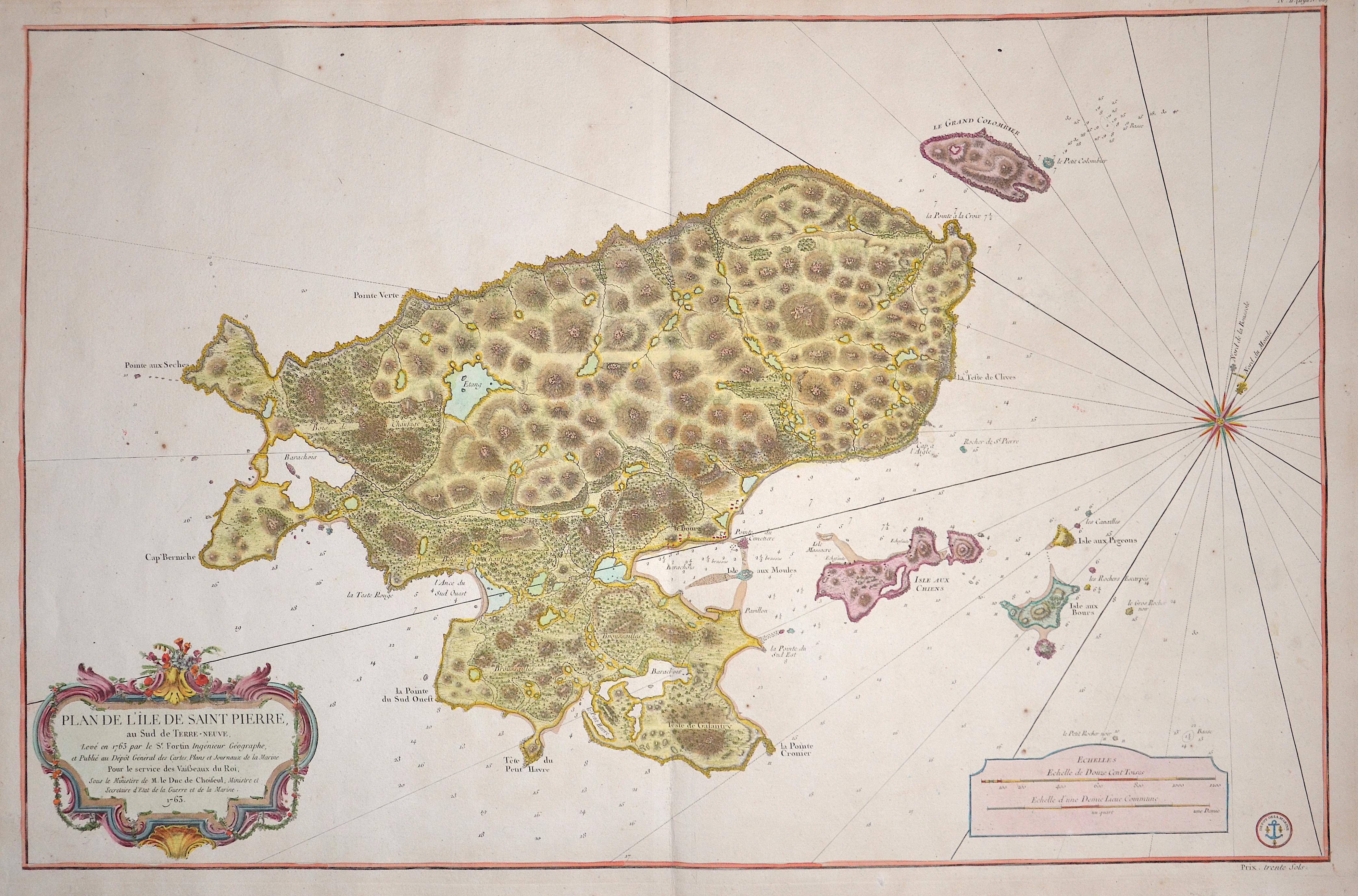 Bellin  Plan de l´ Ile de Saint Pierre au Sud de Terre- Neuve