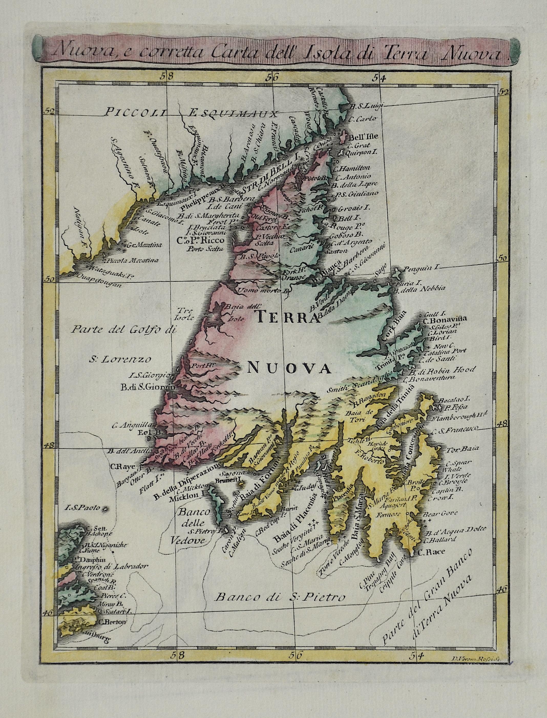 Rossi Veremondo Nuova, e corretta Carta dell' Isola di Terra Nuova.