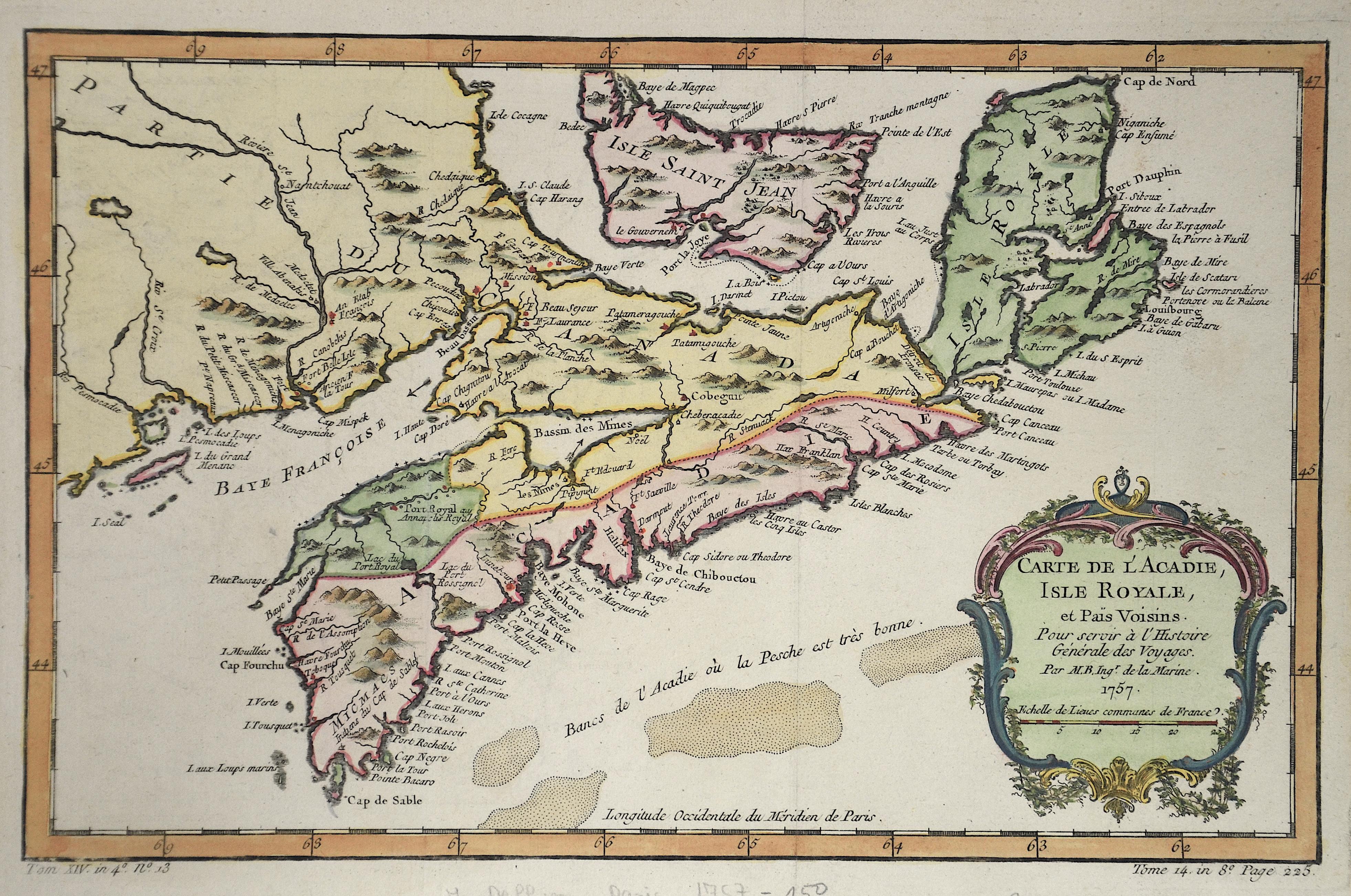 Bellin Jacques Nicolas Carte de l´acadie, Isle Royale et pays voisin.