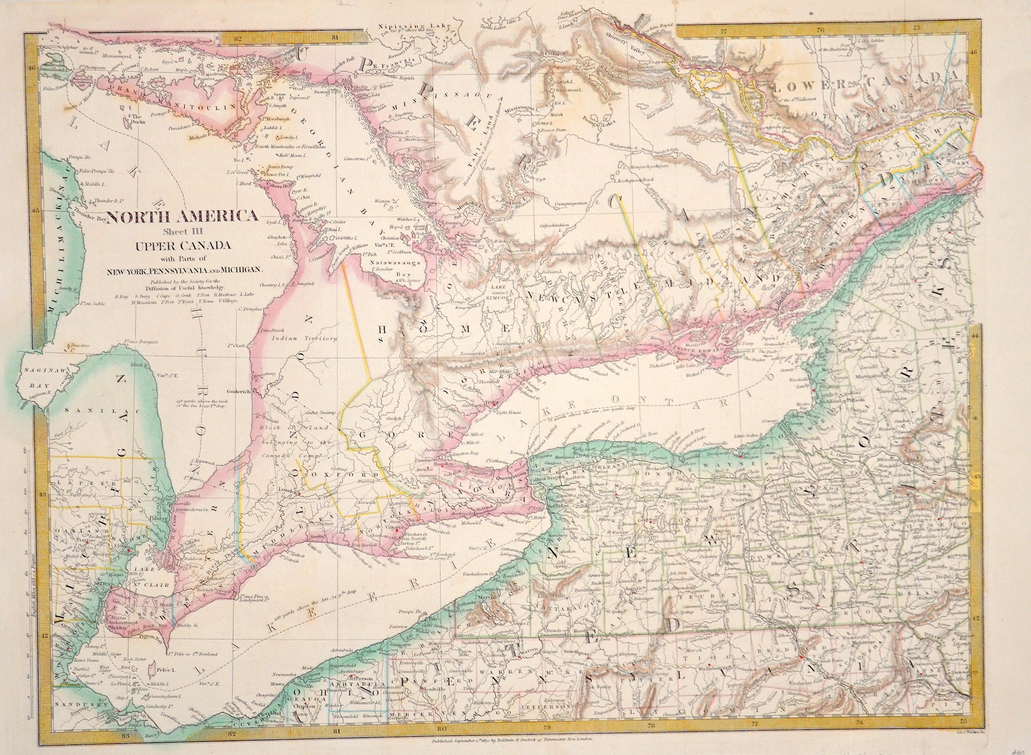 Walker  North America sheet III upper Canada with parts of New York, Pensyvannia and Mitchigan