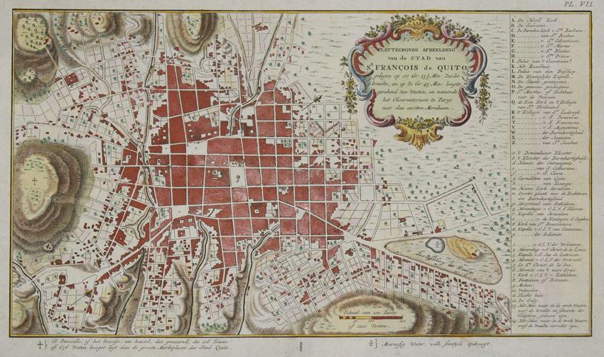 Rossi  Plattengonds Afbeelding van de Stad van St. Francois de Quito…
